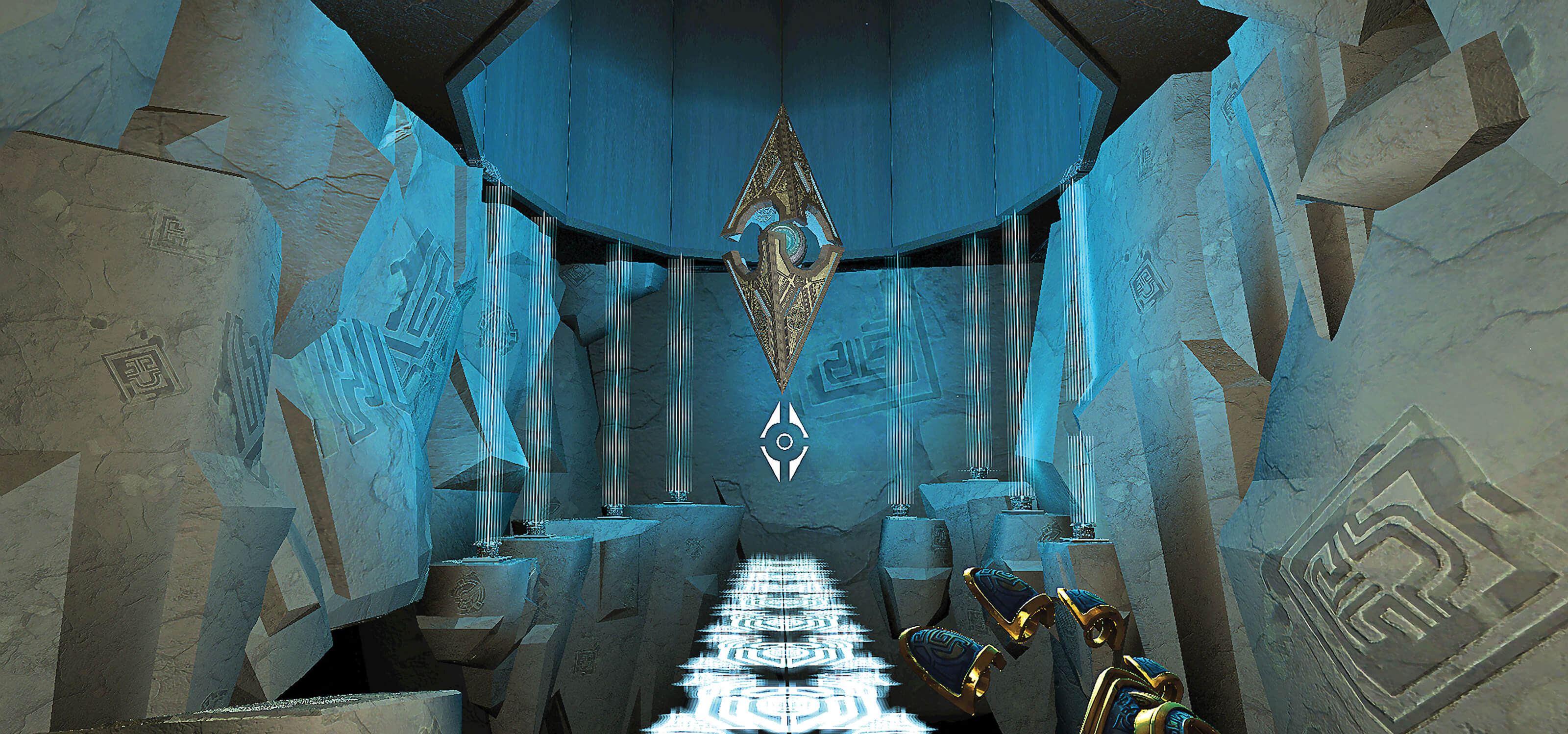 Screenshot from DigiPen Europe-Bilbao student game Inaris: The Cloud Temple featuring a gloved hand reaching toward a diamond-shaped object floating above the ground