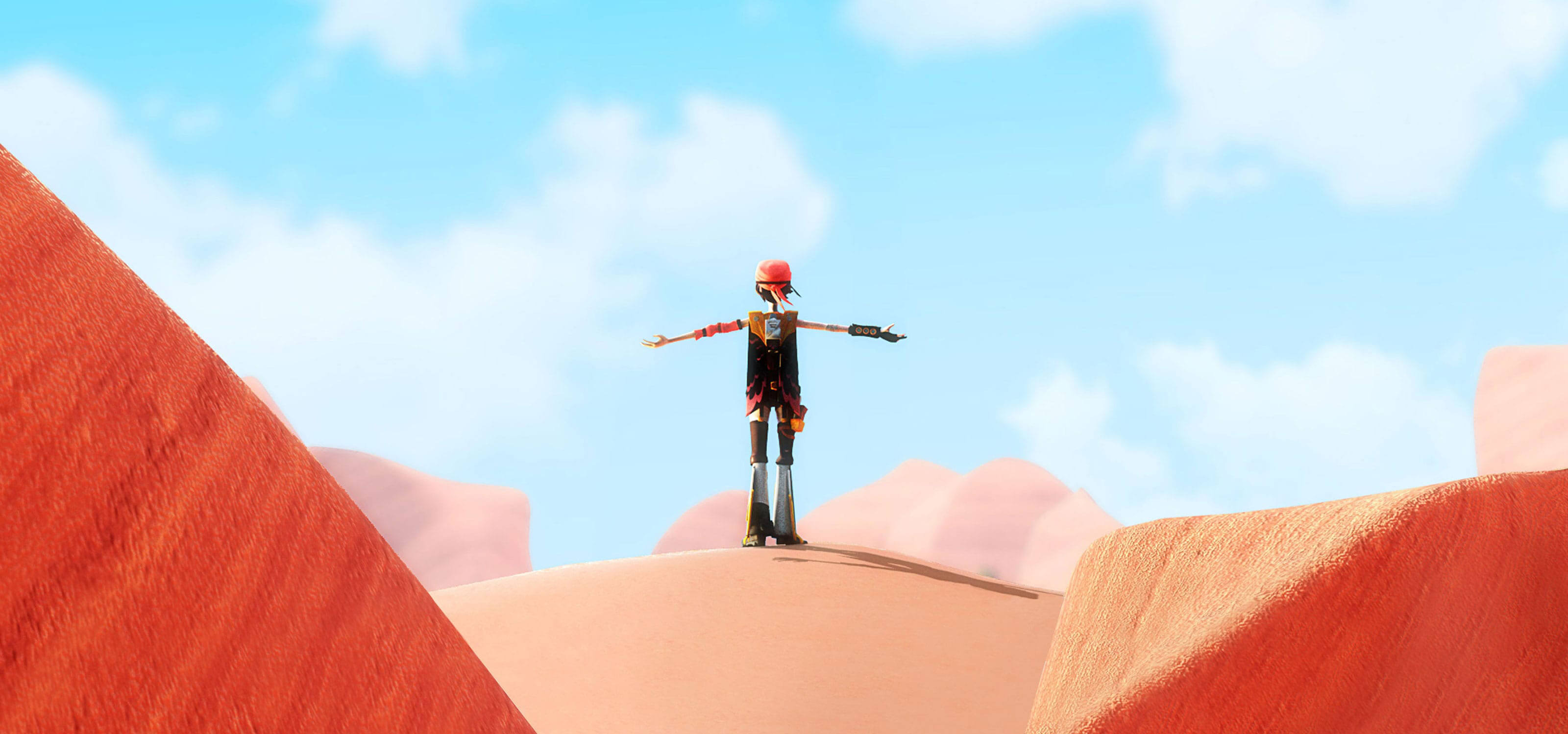 A character wearing bell-bottoms and a bandana stands atop a mound of sand, arms outstretched