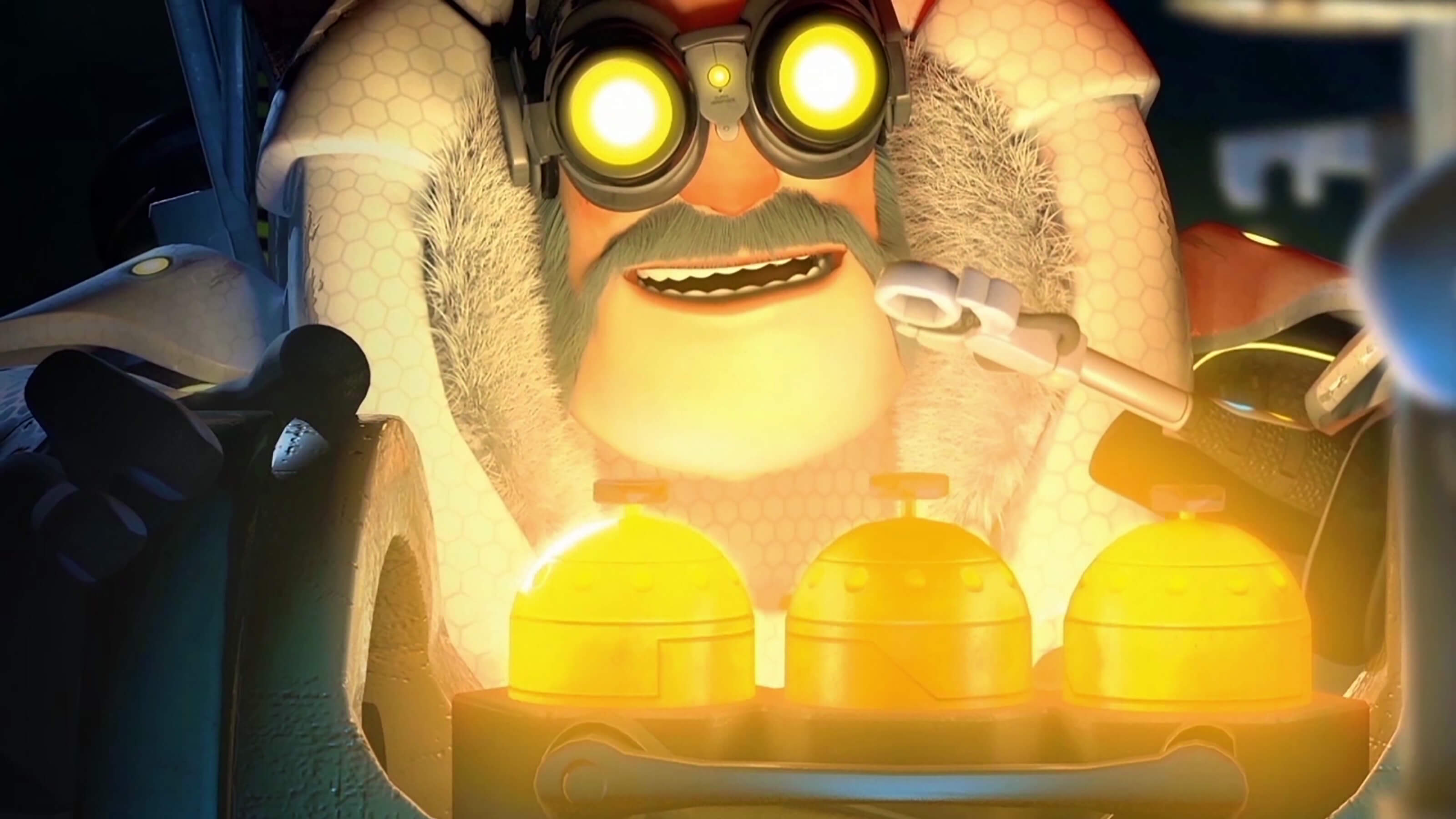 A man in a heavy fur coat and yellow goggles holds a nut in a pair of pliers in front of three glowing golden canisters