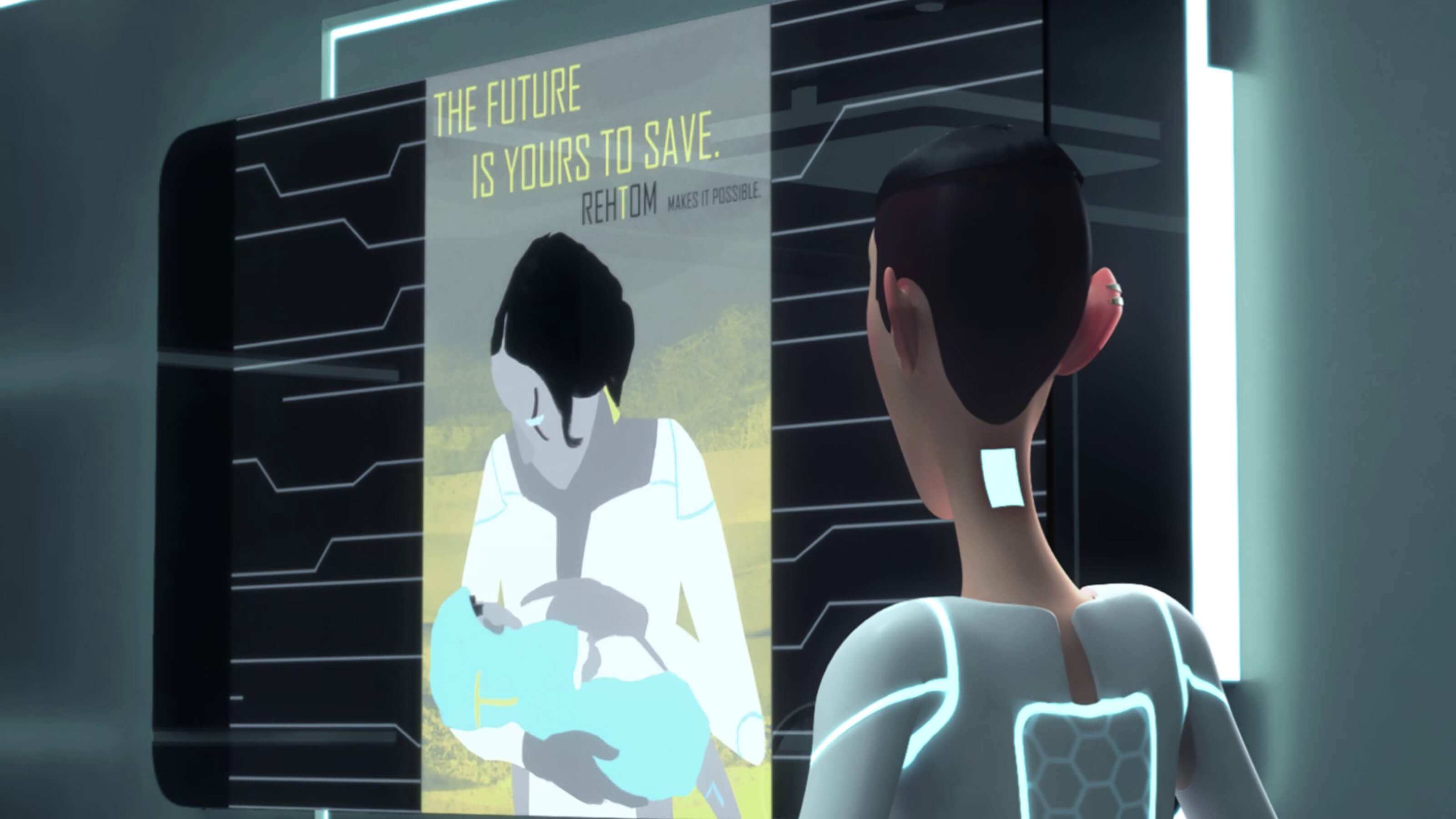 "A person in a futuristic setting looks at a poster of a mother with a child in her arms, with ""The future is yours to save."""