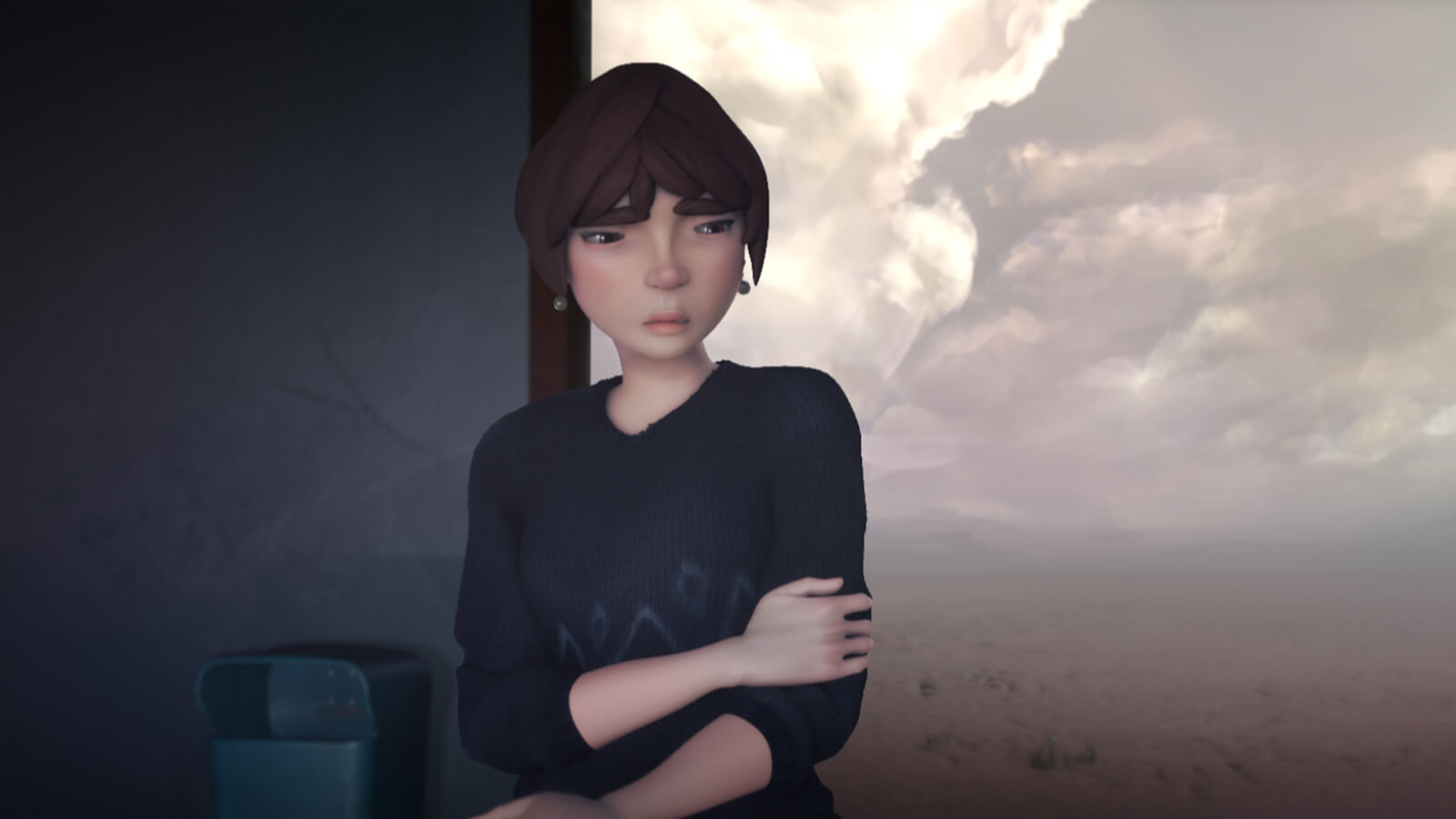 A CG image of a dispirited woman in a black sweater at an open-air train station. The landscape behind her is a barren desert