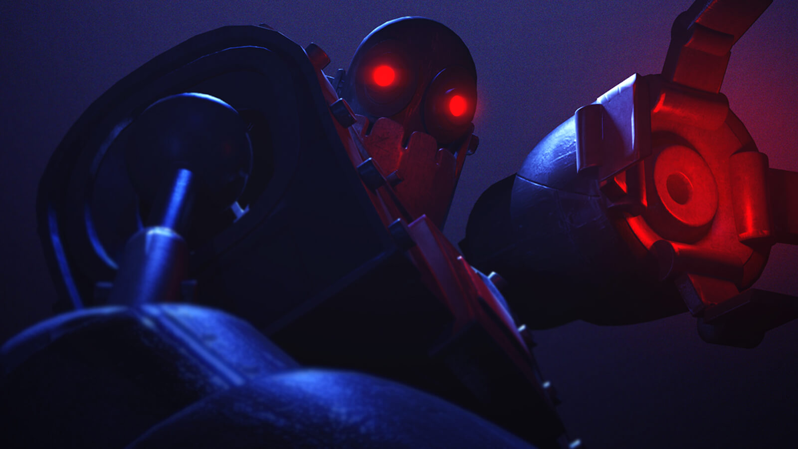 A dimly lit, metal robot raises an open claw as seen from below. Both its claw and eyes glow brightly red in the dark.