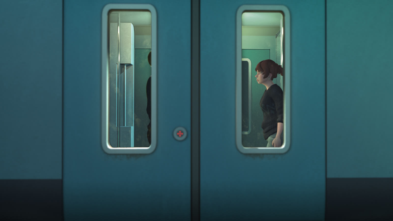 A woman in a black sweater from the side as seen through the vertical window in a train car's sliding doors.