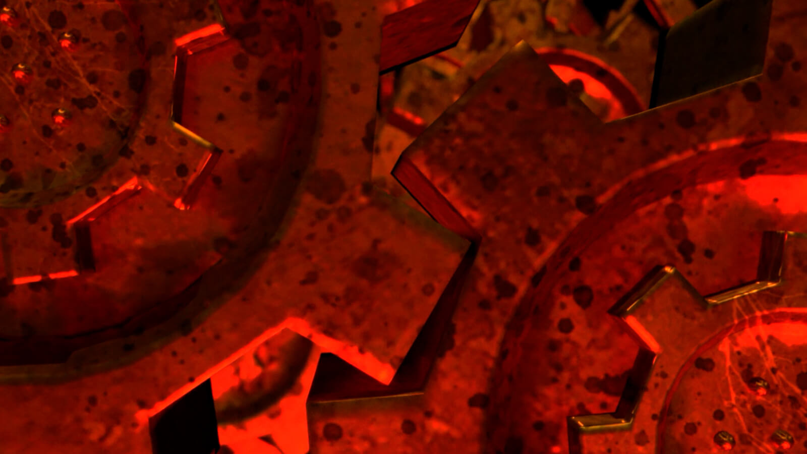 An extreme closeup of red-lit metal cogs with grease spots