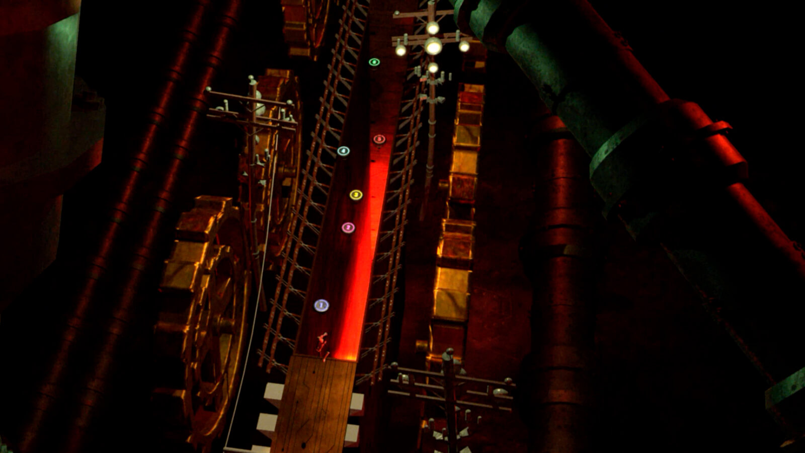 A red-lit industrial corridor seen from above flanked by cogs and telephone poles