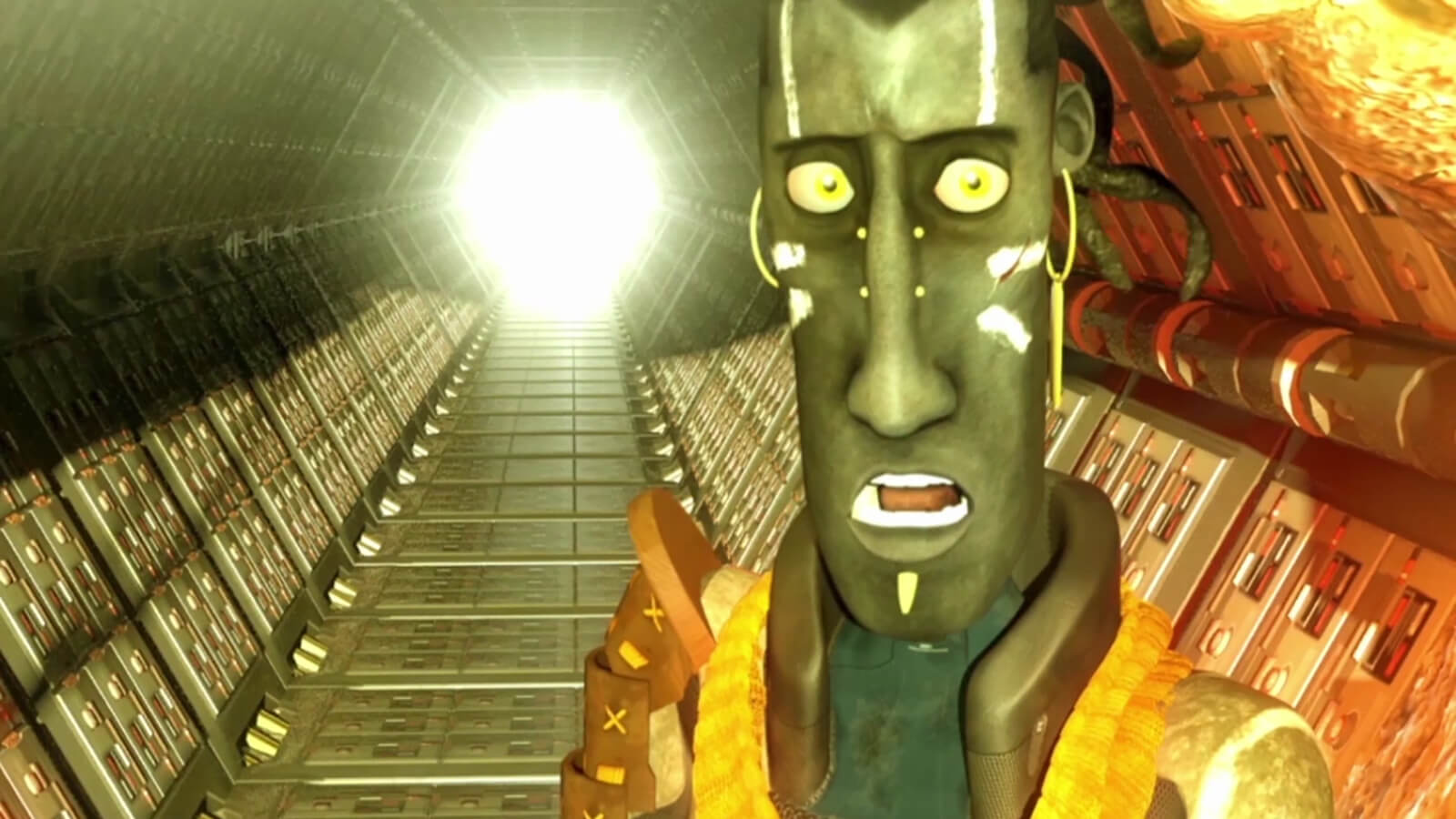 A man with a thin vertical face decorated with white body paint looks surprised staring down a hexagonal metal corridor