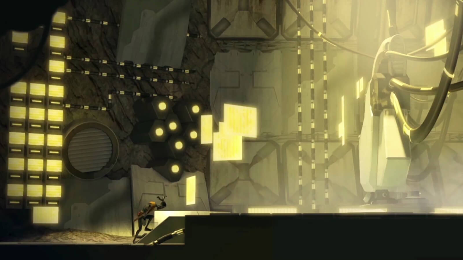 A man walks gingerly up to an altar where a large white machine stands in an expansive cavern lit by yellow lights
