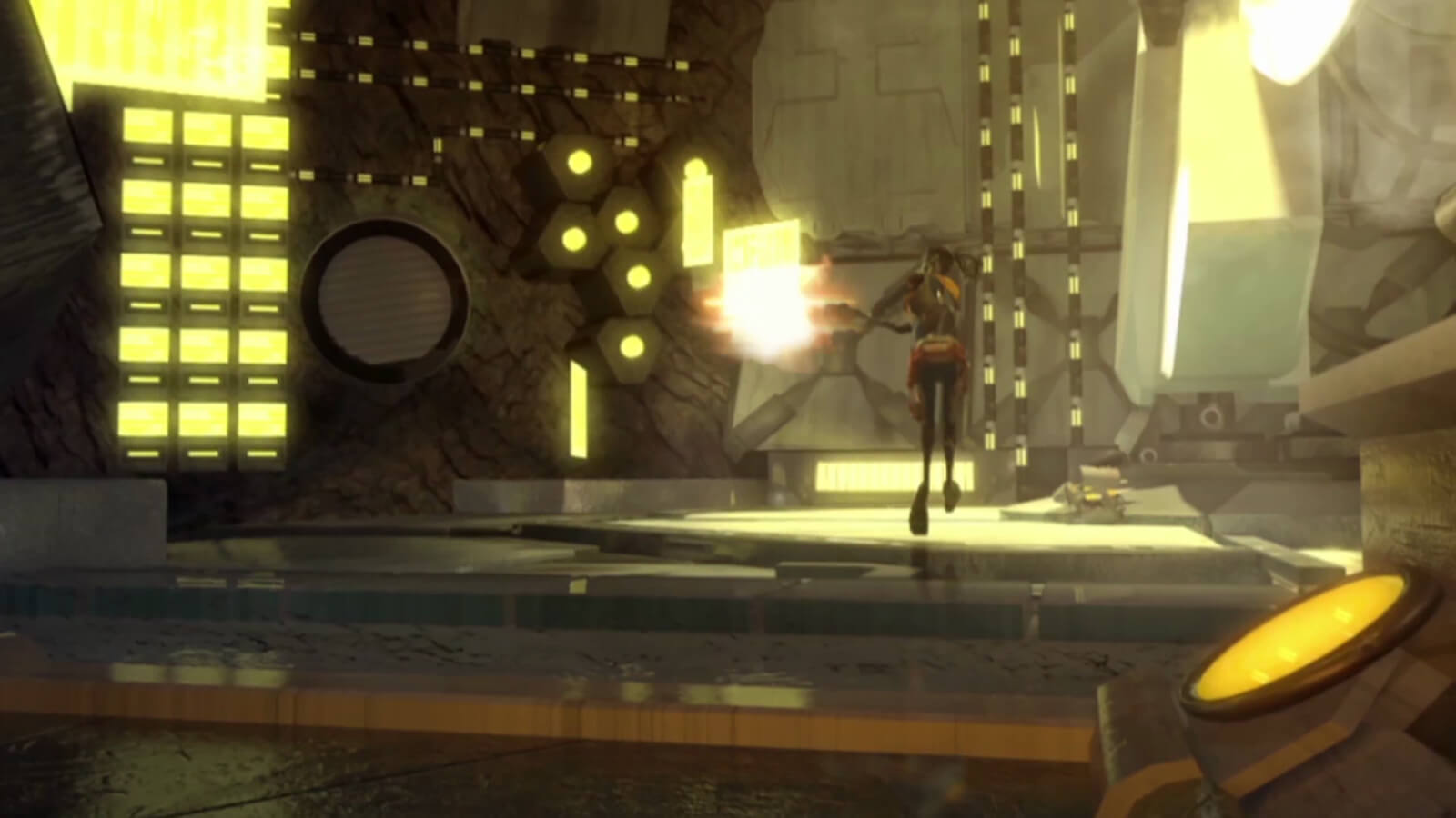 A man runs through a yellow-lit cavern shooting a laser gun at an unseen enemy to his left