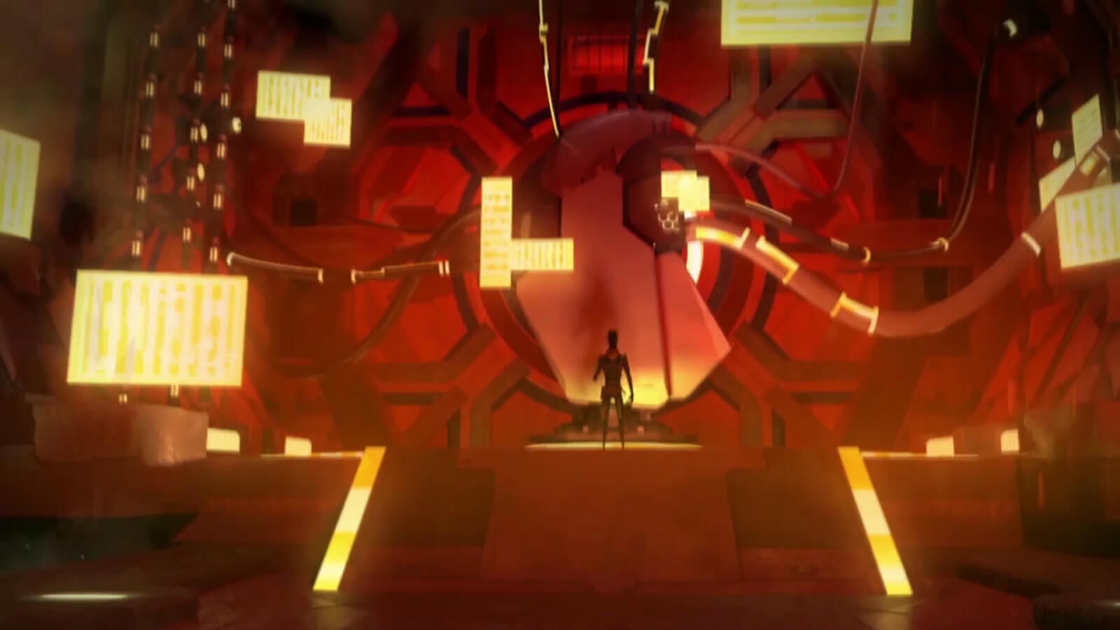 A man stands before a large machine connected to the wall by tubes. The room is tinged by red light and yellow accents.