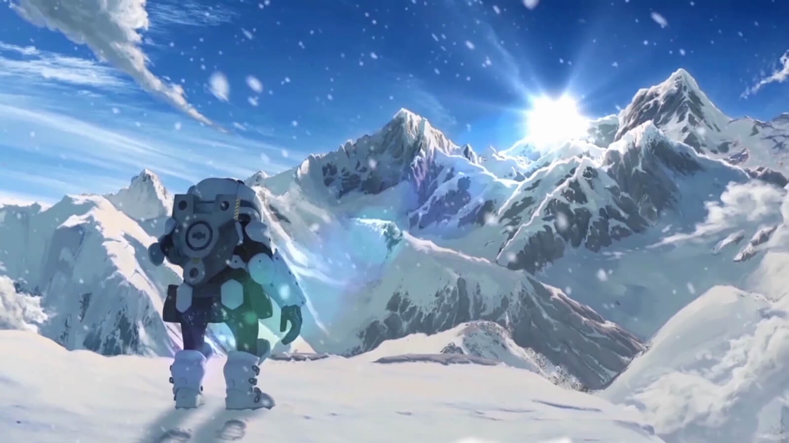 A man wearing futuristic armor stands on a snowy mountain top, looking at the sun rising over even higher peaks