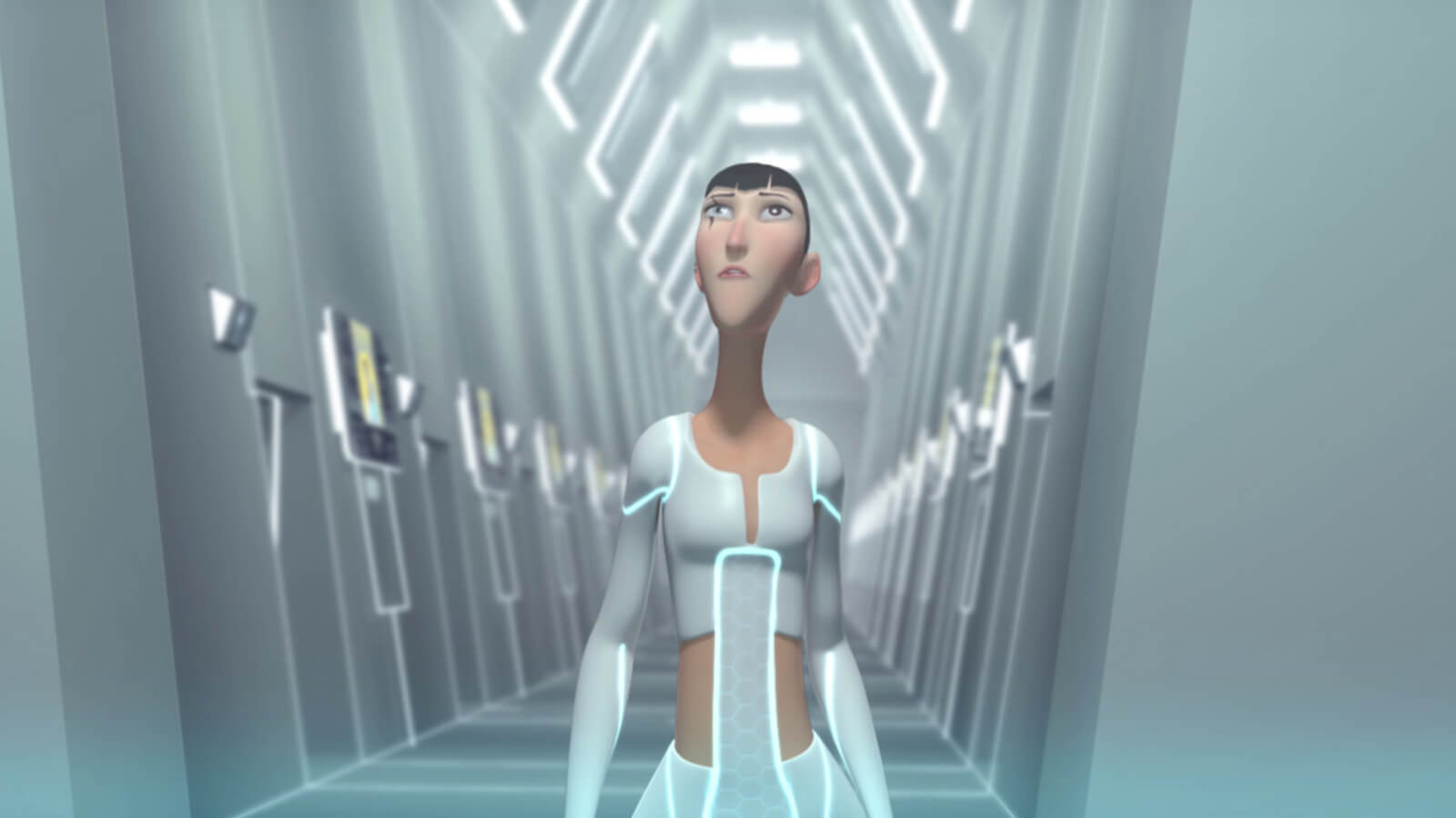 A tall, thin woman with a scar over her eye with futuristic white clothing walks down a brightly lit white corridor