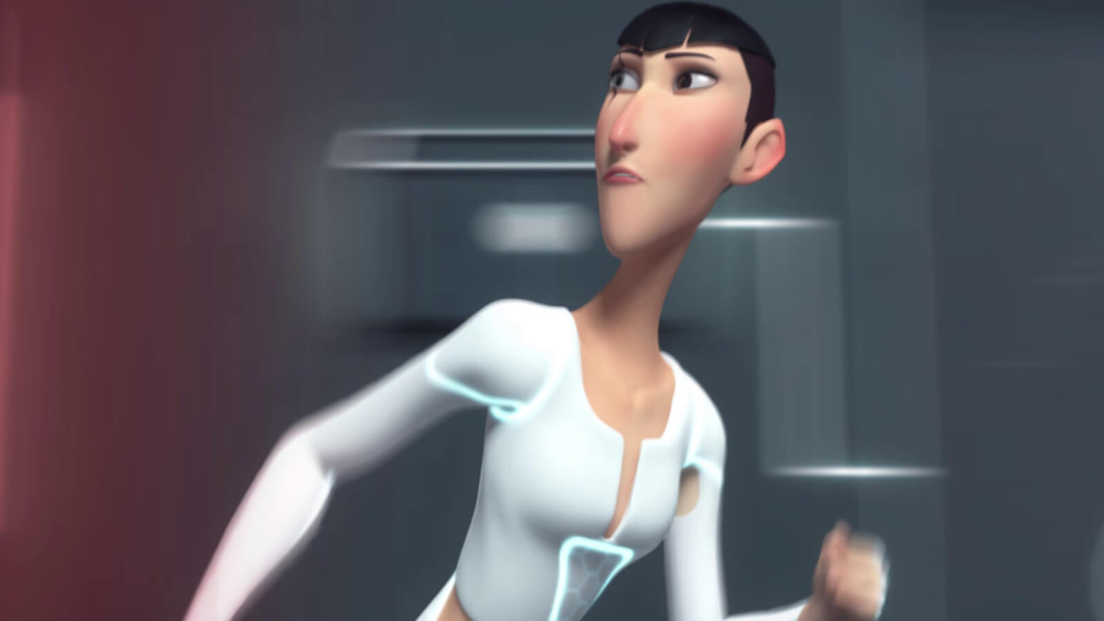 A tall, thin woman with a scar over her eye with futuristic white clothing runs away, looking behind her shoulder
