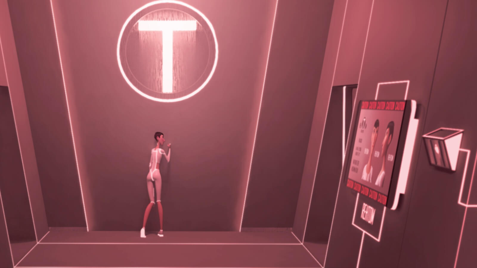 A tall, thin woman wearing futuristic white clothing leans against a pink-lit wall with a glowing T logo above her