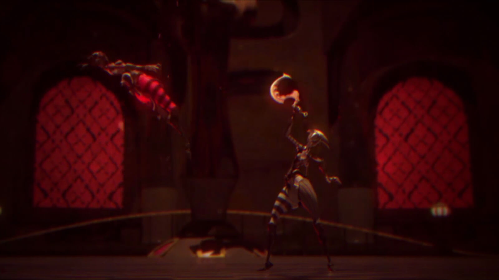 Two figures battle in a dimly lit arena room. One raises a melee weapon while the other flies through the air backward.