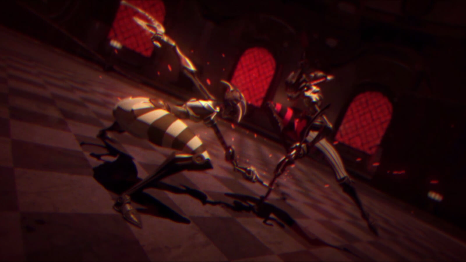 Two figures in lithe armor battle in a dimly lit room. One crouches swinging a melee weapon at the other's leg.