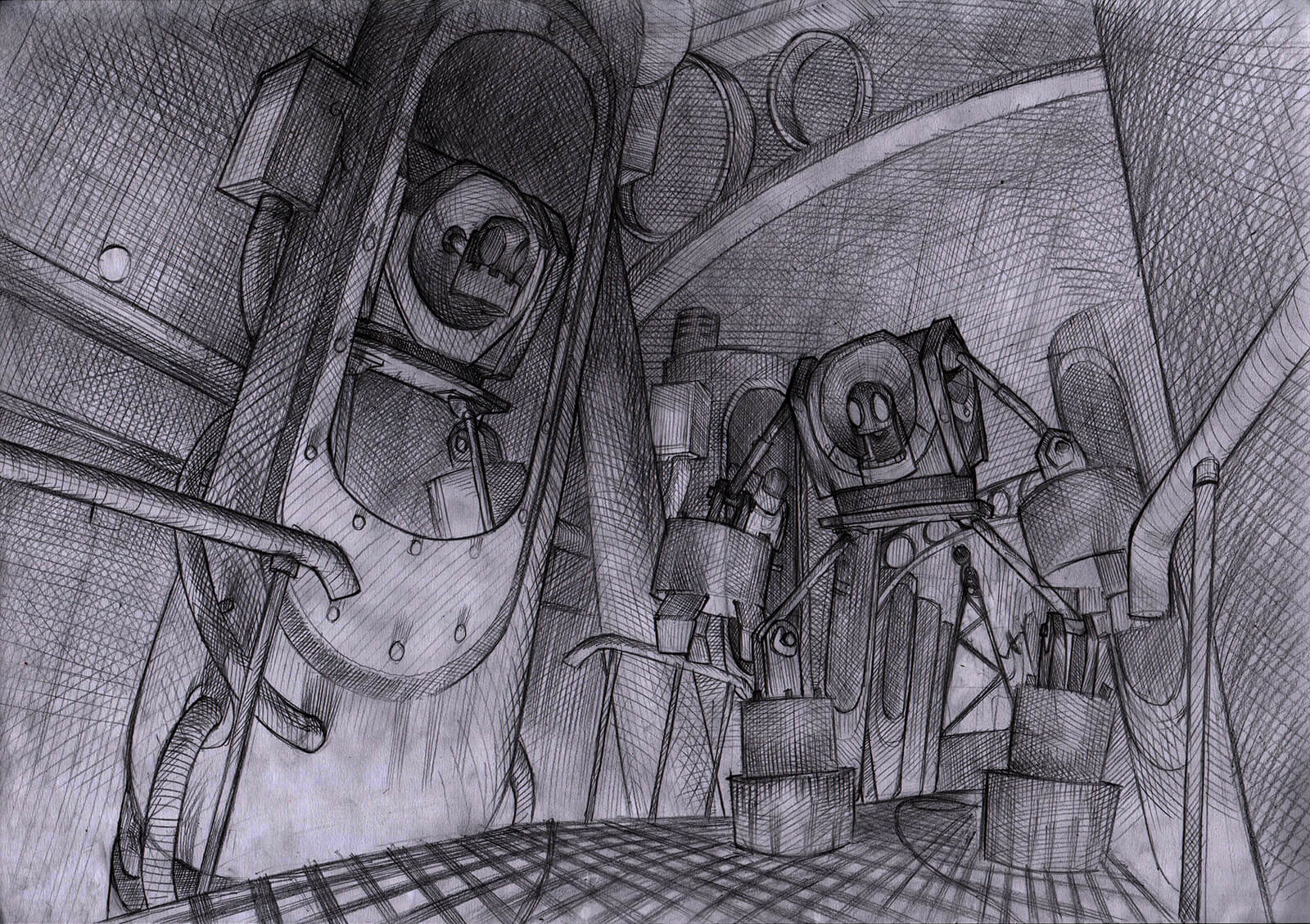 Black-and-white concept sketch for the film Core, depicting ominous metallic robots in a corridor