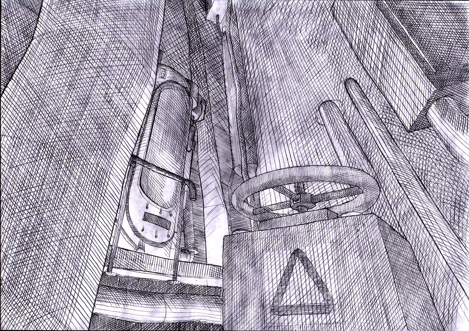 Black-and-white concept sketch for the film Core, depicting a safety valve and door in an industrial space