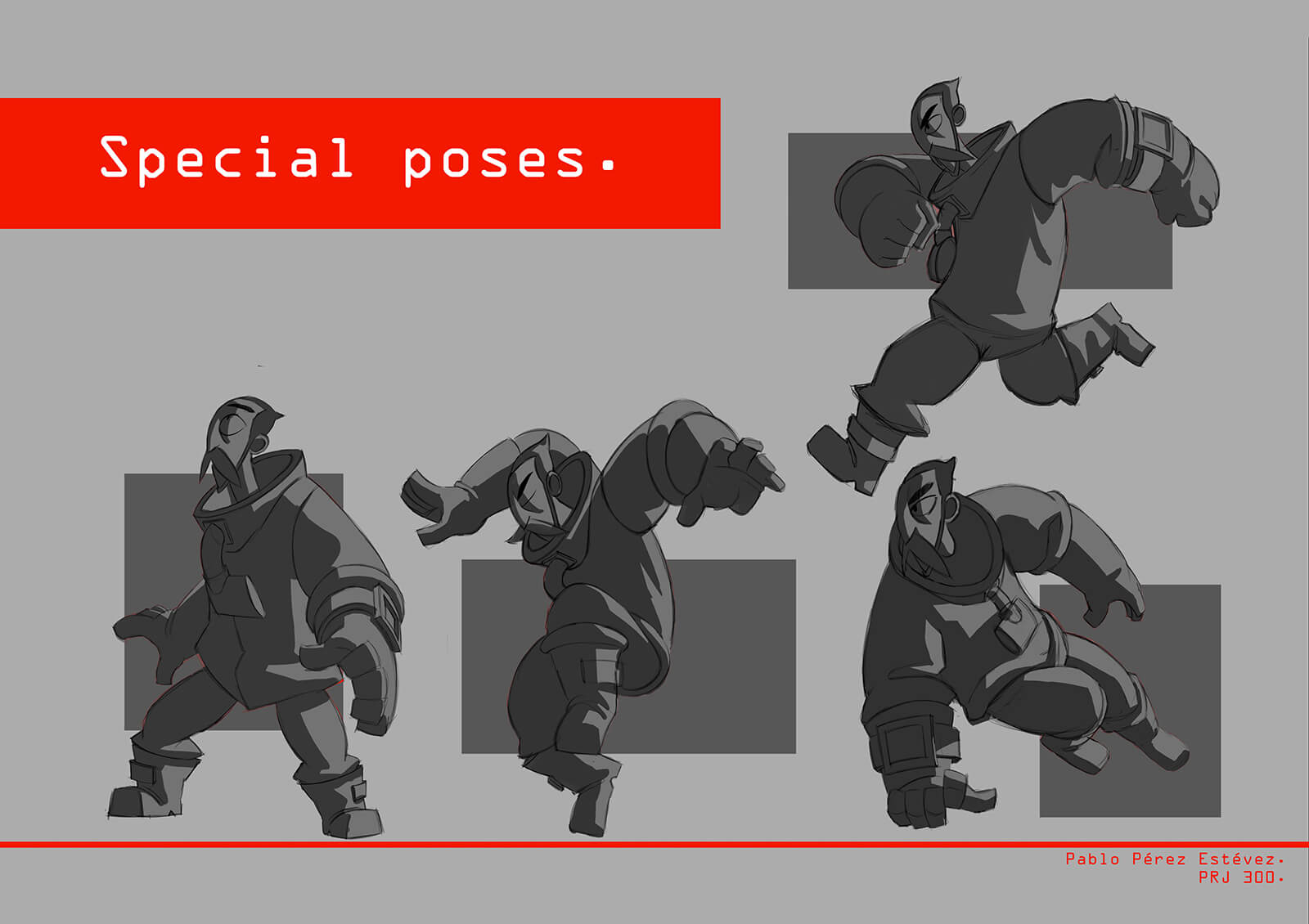 Special pose sketches for the film Core depicting a man in an industrial suit running and jumping