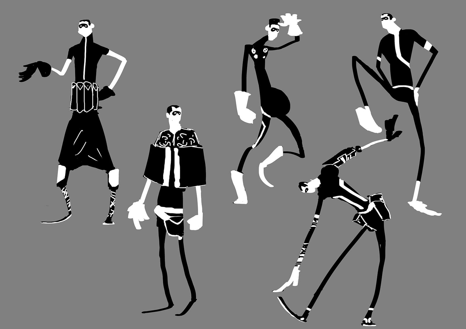 Black-and-white concept sketches or a tall, thin man in various outfits and poses