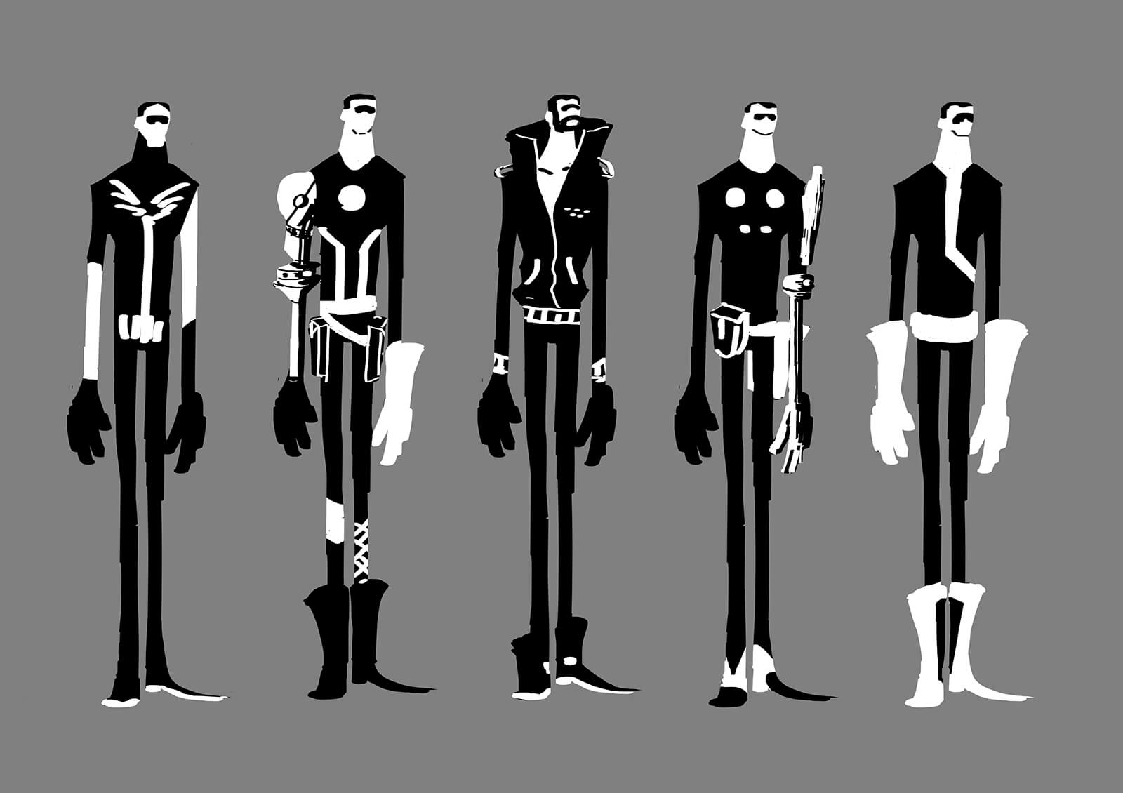 Black-and-white concept sketches or a tall, thin man in various futuristic outfits standing side to side