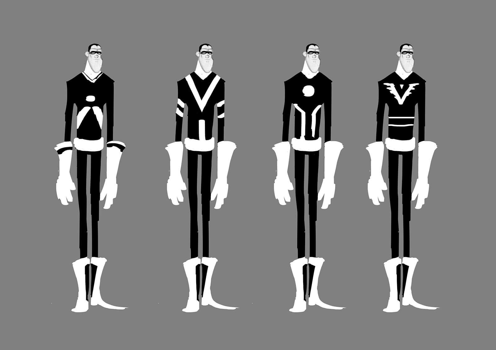 Black-and-white concept sketches or a tall, thin man in a futuristic outfit with differing chest logos standing side to side
