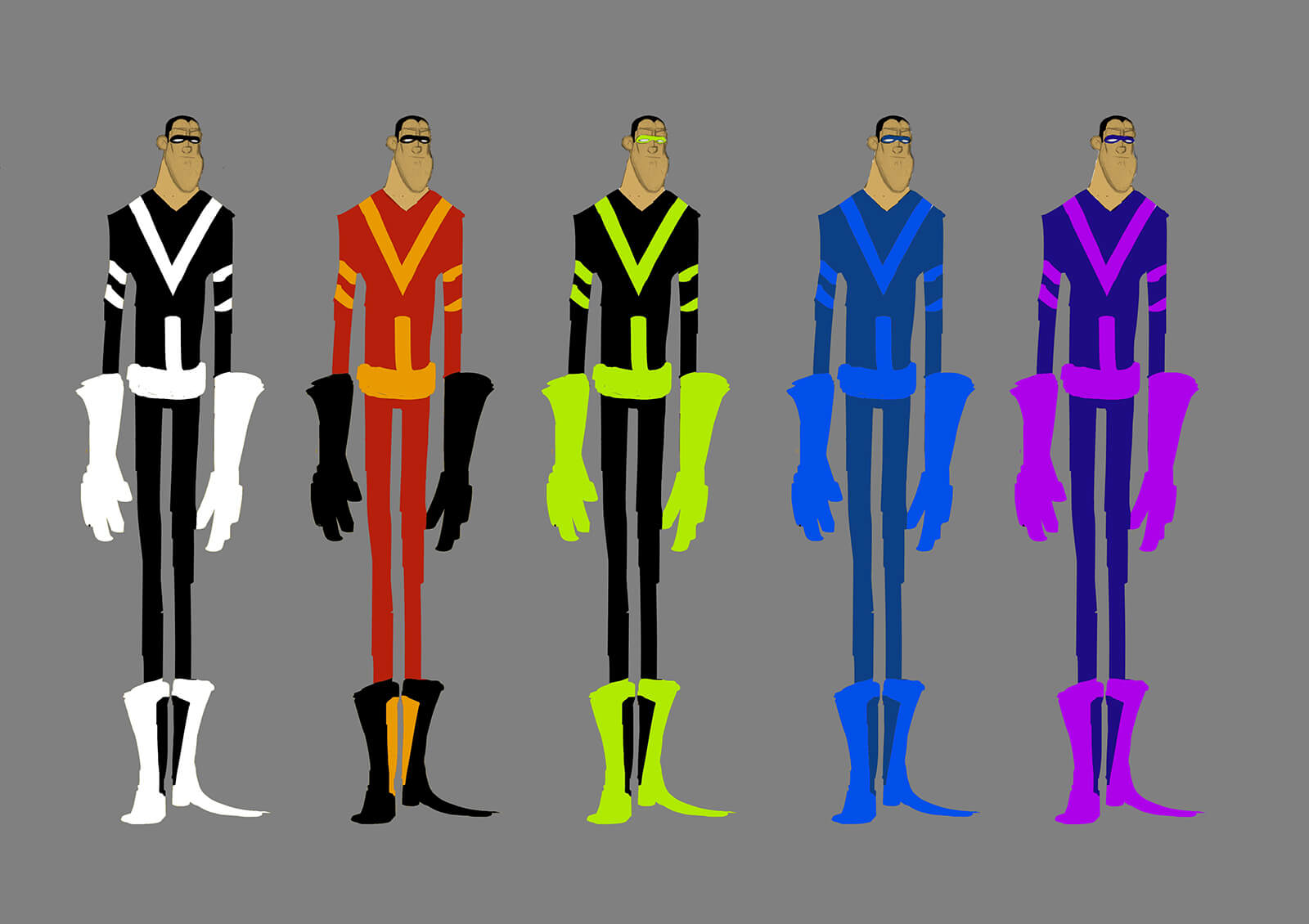 Color concept sketches or a tall, thin man in various futuristic outfits standing side to side