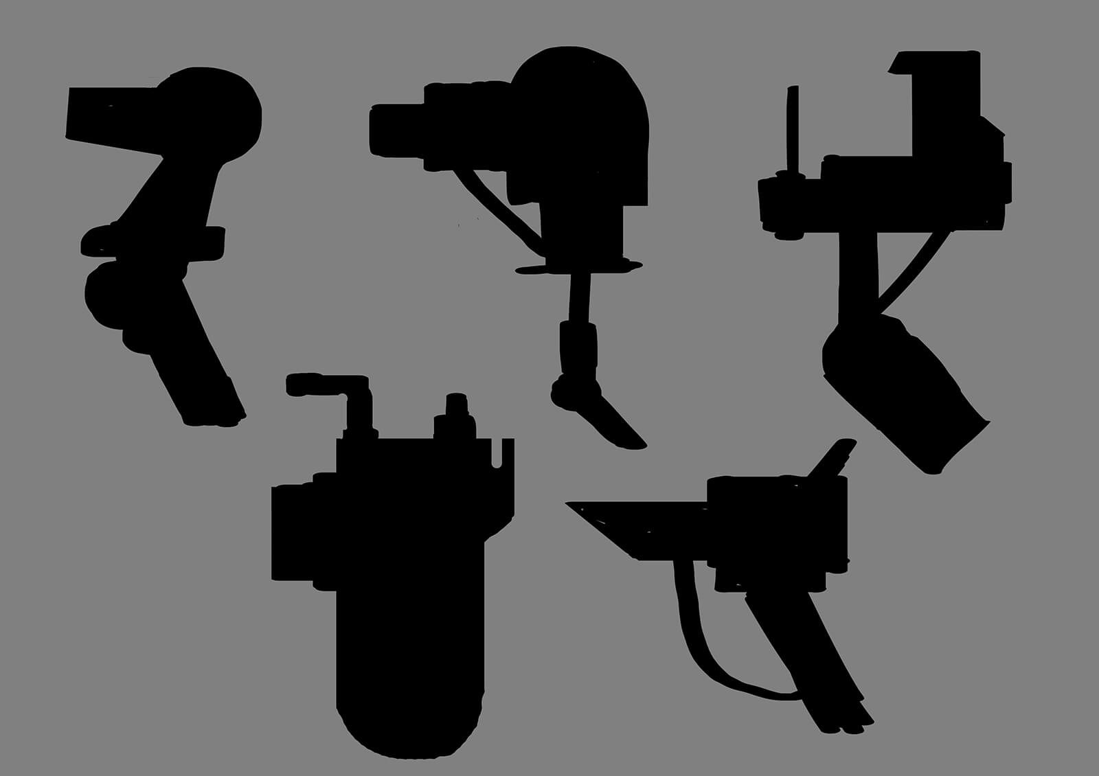 Silhouette sketches of various industrial equipment as seen in the film Deadly Delivery