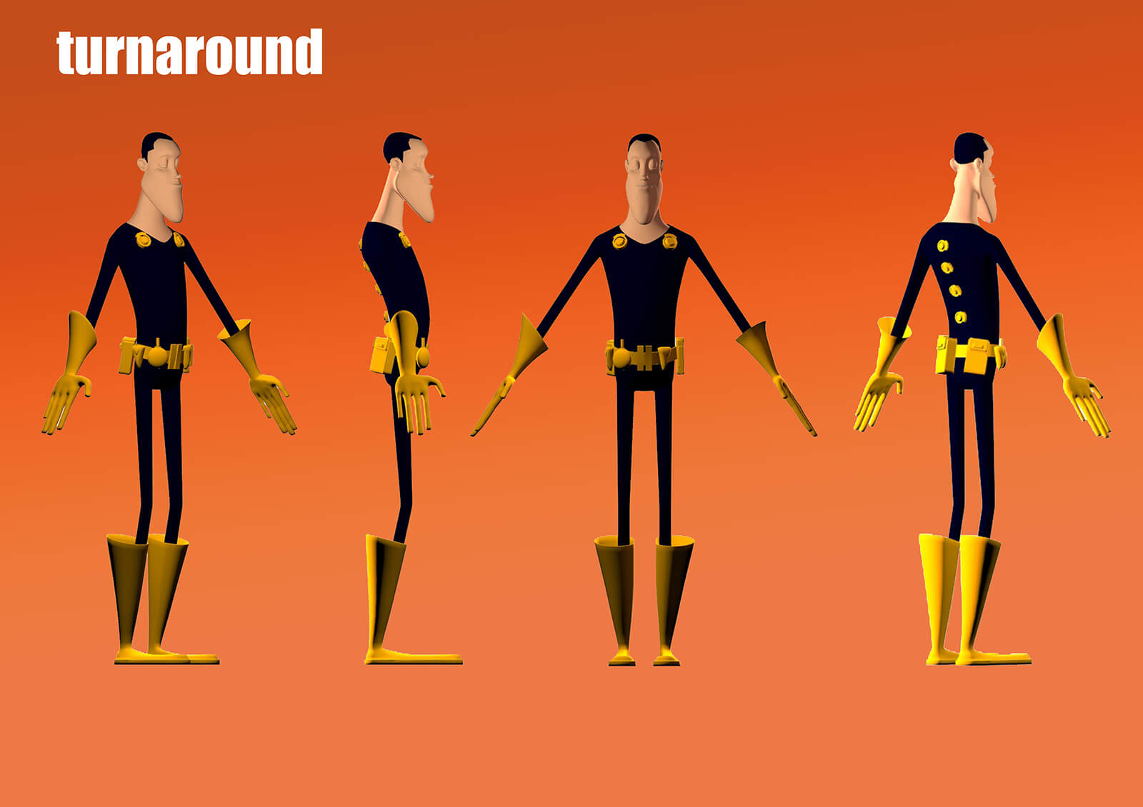 Turnaround slide of a man in black and yellow spandex from the film Deadly Delivery from different angles