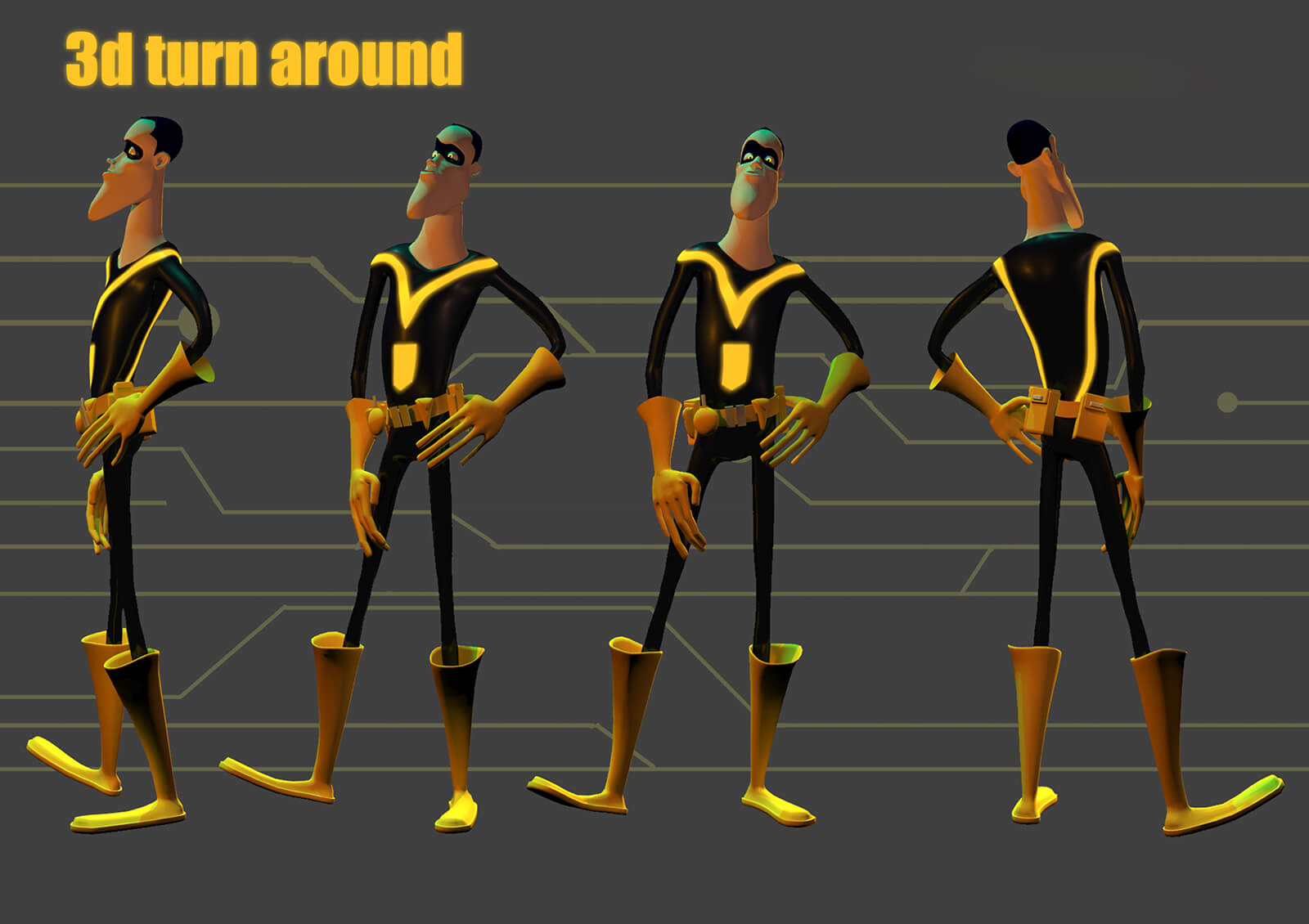 3D turnaround slide of a man in black and yellow spandex from the film Deadly Delivery from different angles
