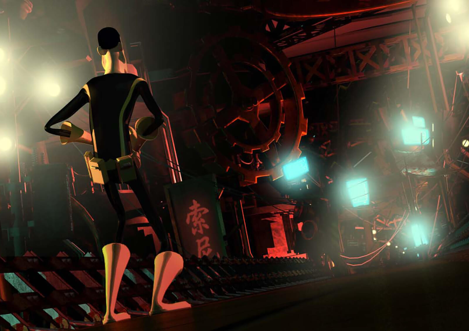 A man in yellow and black spandex tights looks down a red-lit industrial corridor