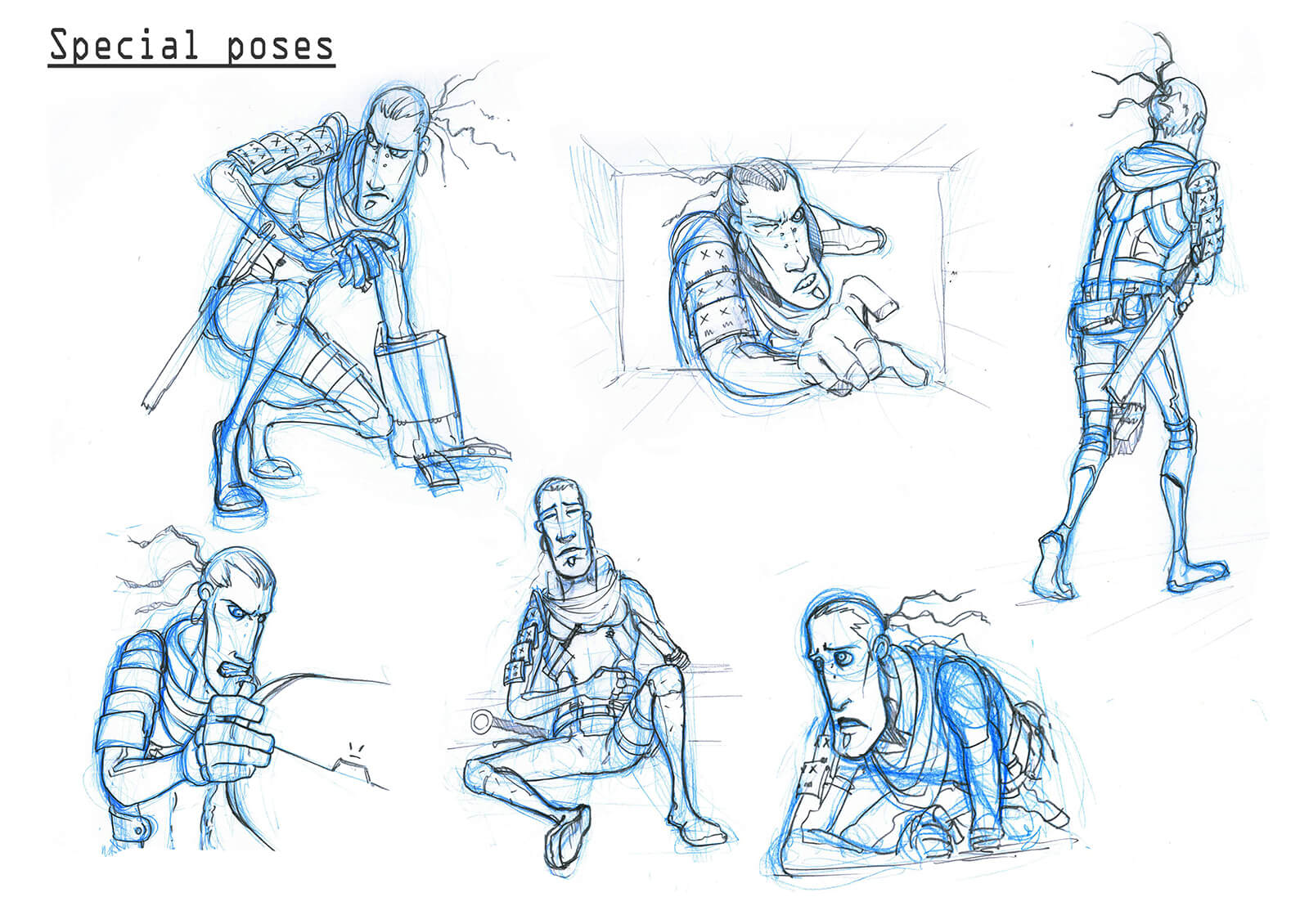 Blue and black sketches of a tall, thin man in body armor crouching, crawling, and sitting, among other poses