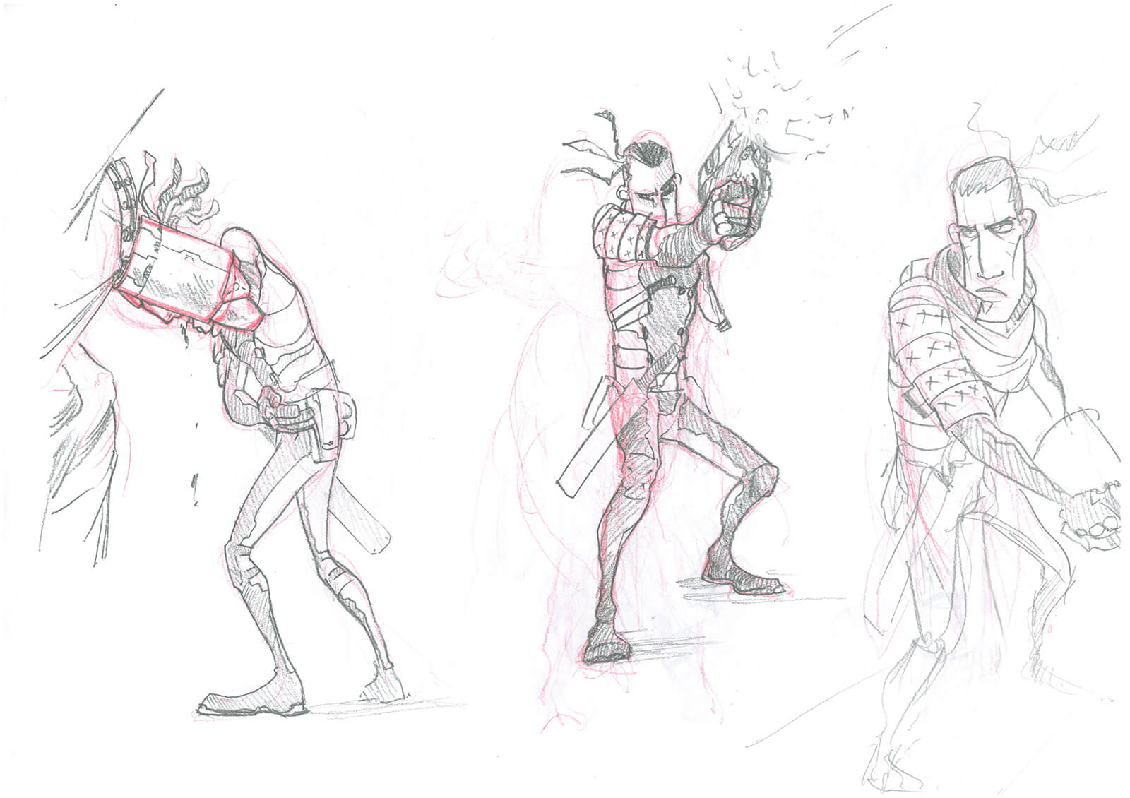 Red and black sketches of a tall, thin man in body armor leaning against a wall hurt, shooting, and glaring