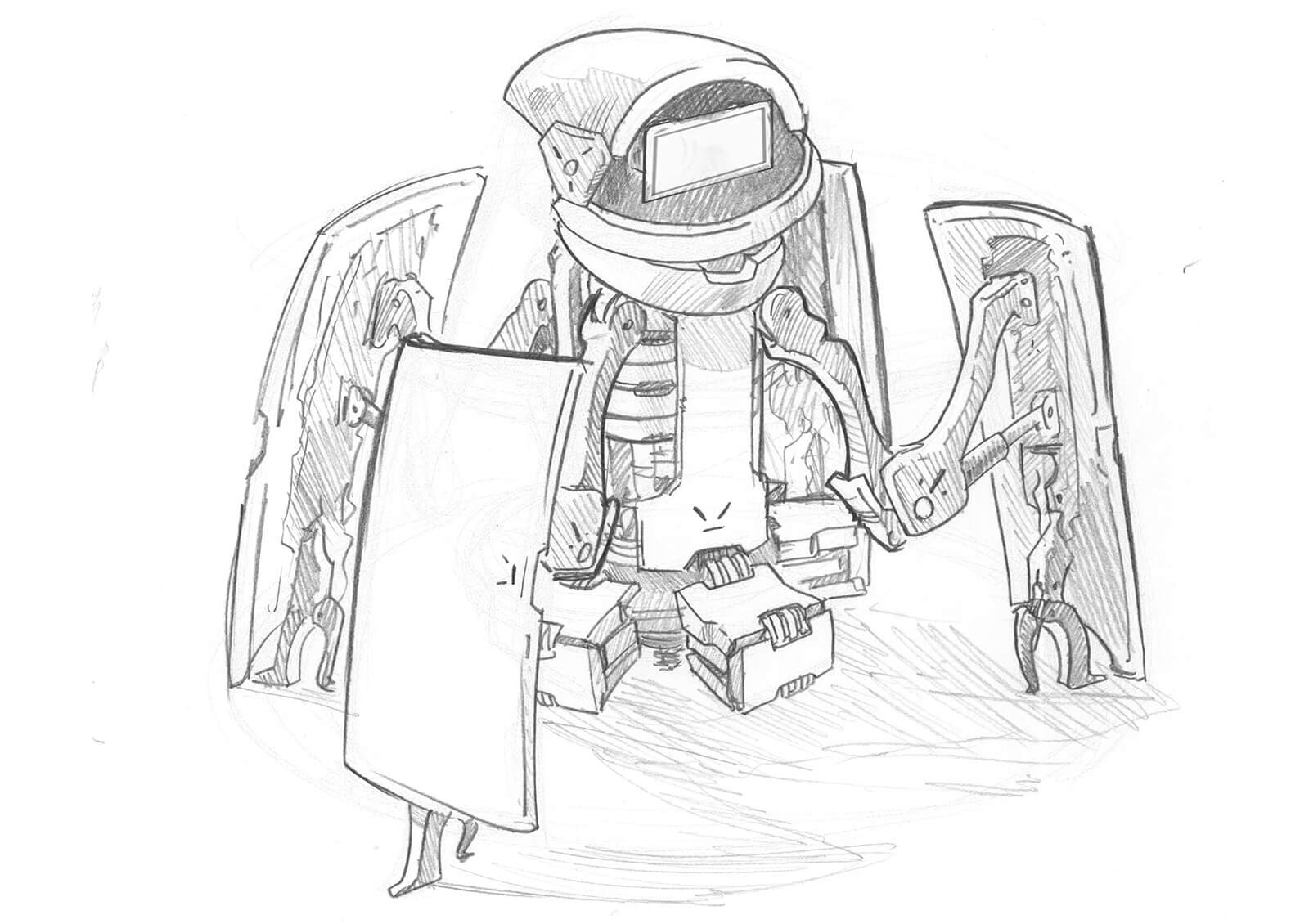 Black-and-white sketch of a short robot-like device with splayed-out panels revealing machinery inside