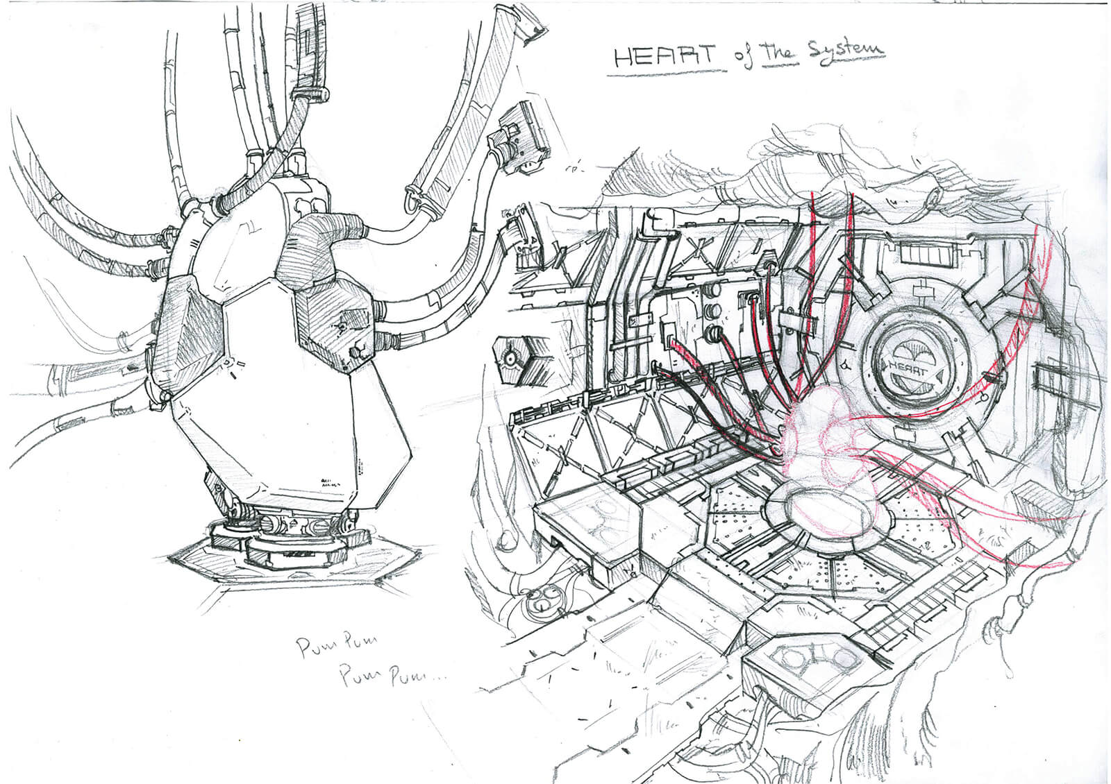 "Black-and-white sketch of the ""Heart of the System"" from the film Heart Level, a white machine connected by several tubes"