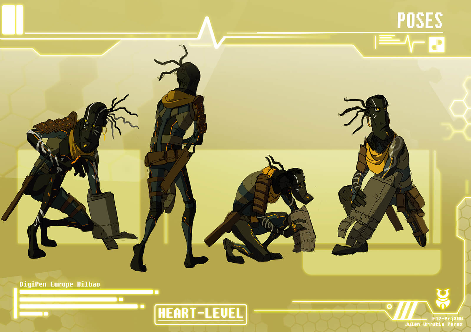 Full-color drawings of a tall, thin man in earth-tone body armor in poses such as walking and crouching