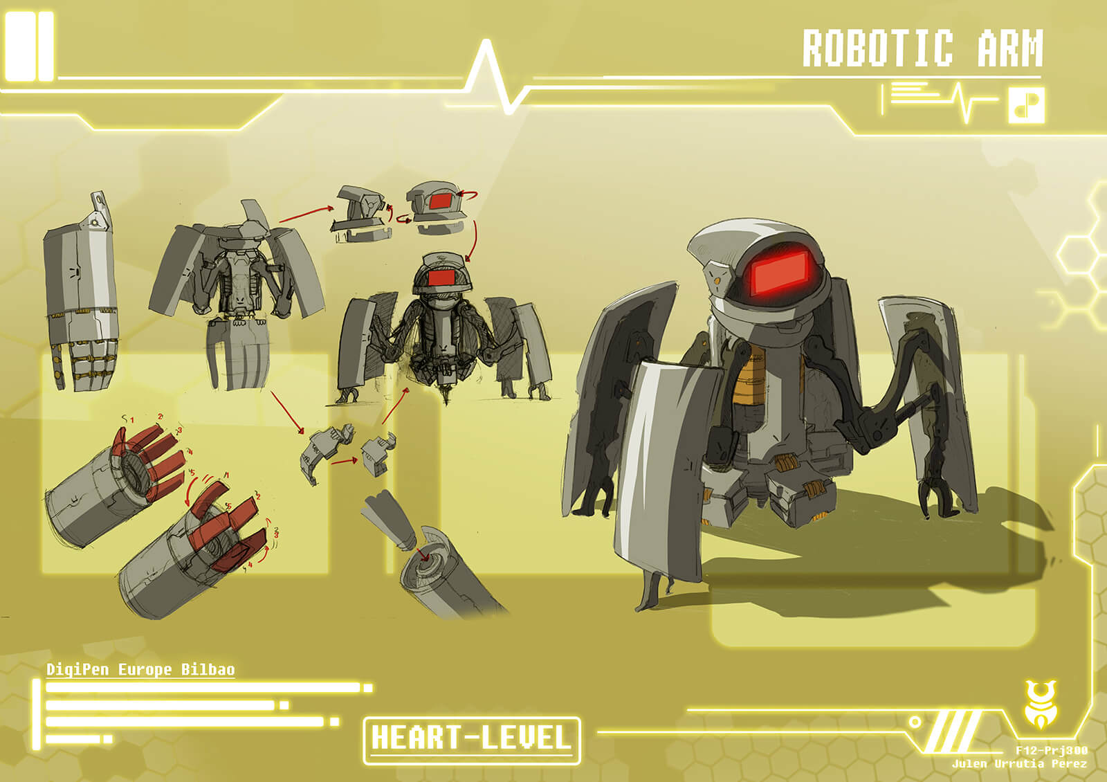 Concept paintings of metallic arm armor from the film Heart Level as it deploys into a short, red-faced robot