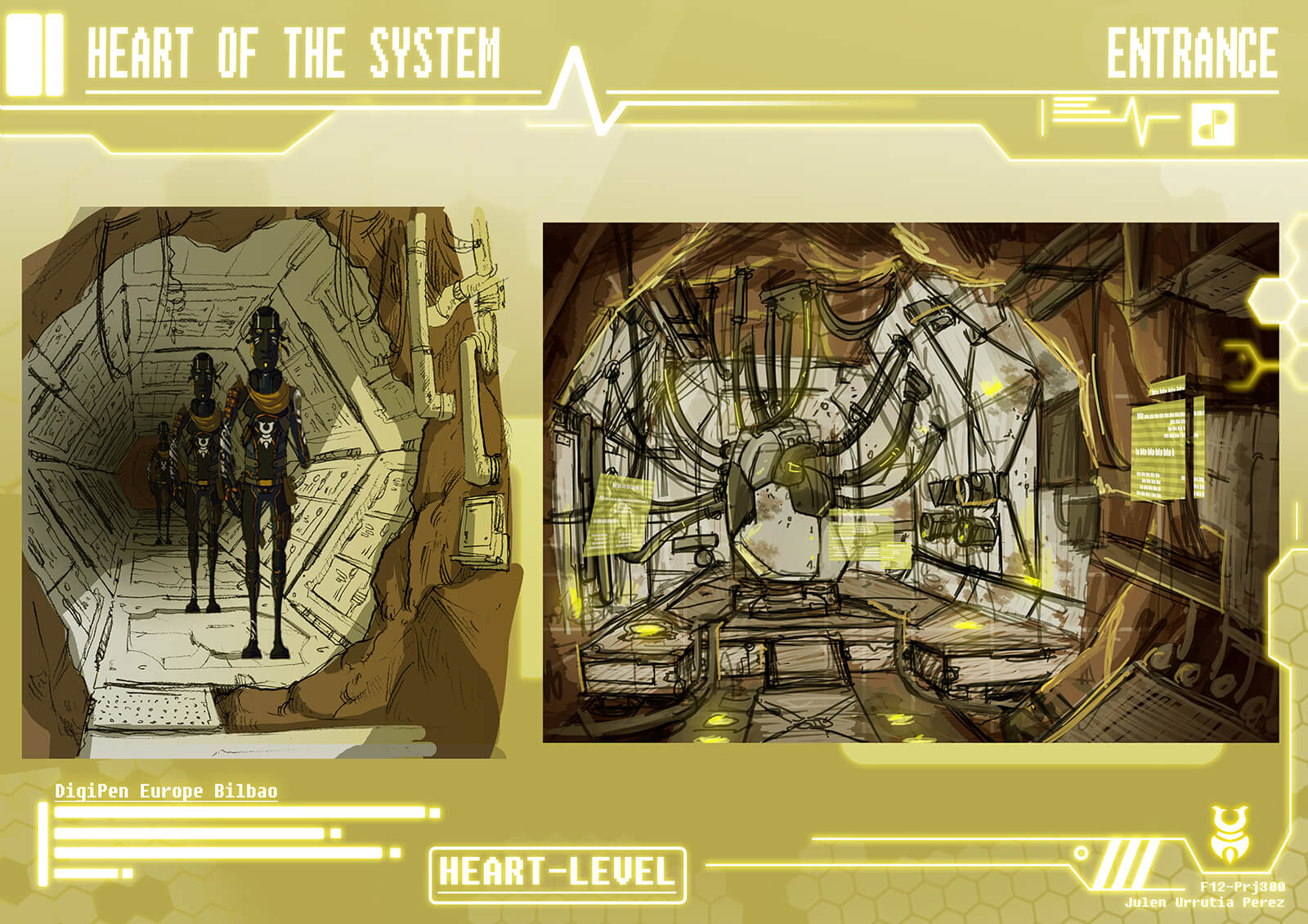 "Concept paintings of the the ""Heart of the System"" including a narrow corridor, and a cavern and machine connected by tubes"