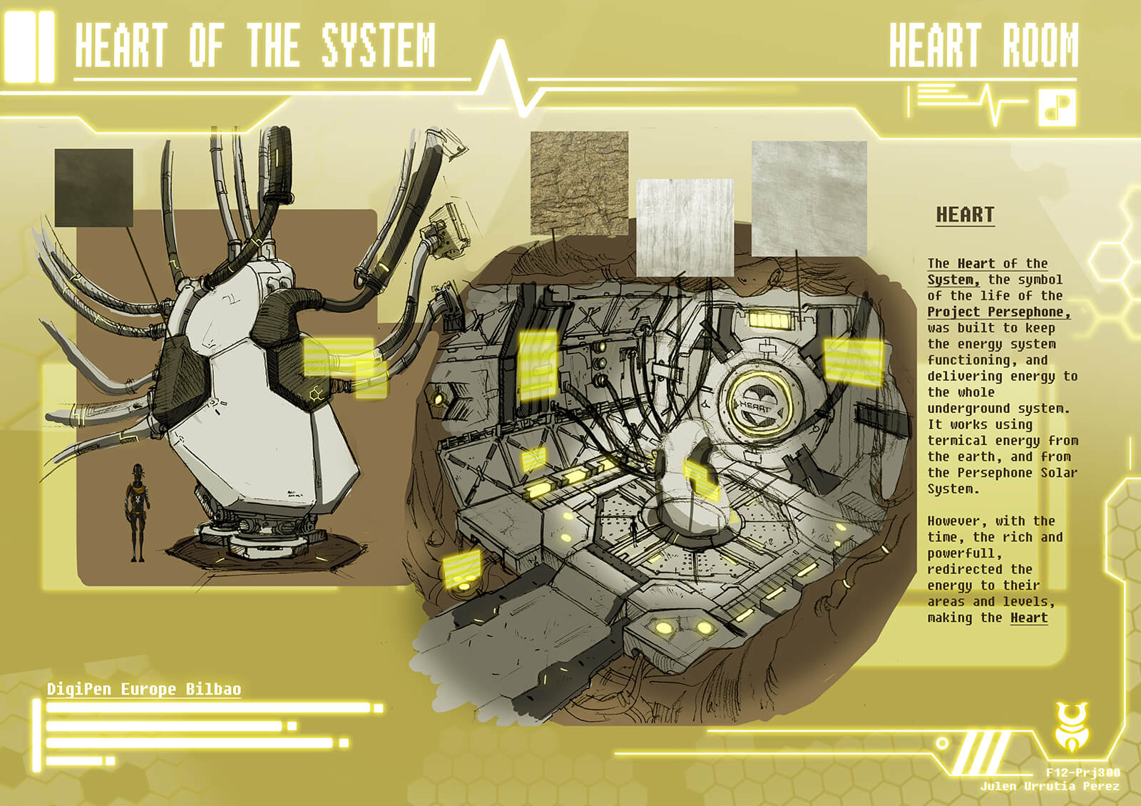 "Additional concept paintings of the the ""Heart of the System"" including a narrow corridor, and a cavern and machine connected by tubes"