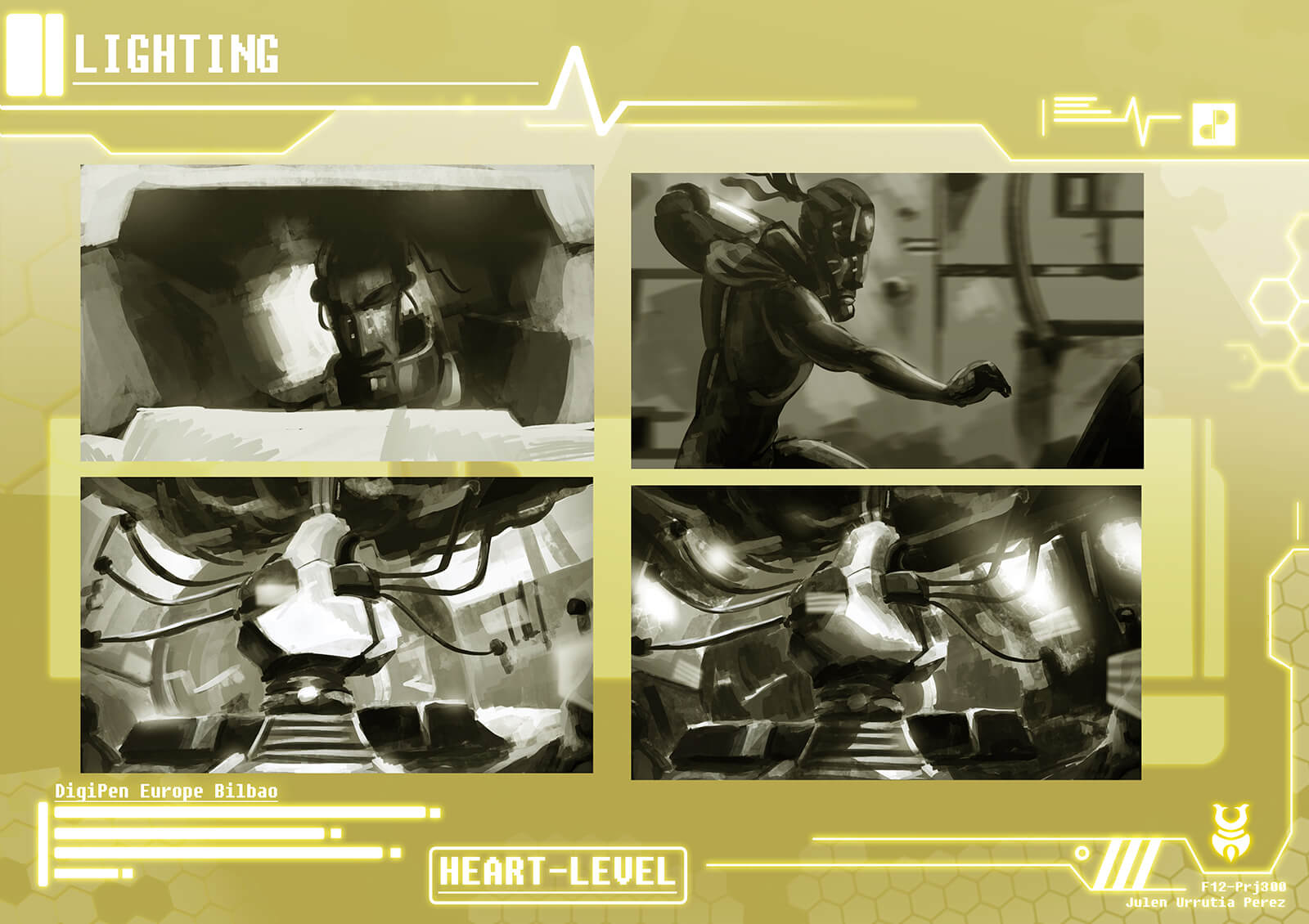 Black-and-white drawings detailing lighting schemes of various scenes in the film Heart Level
