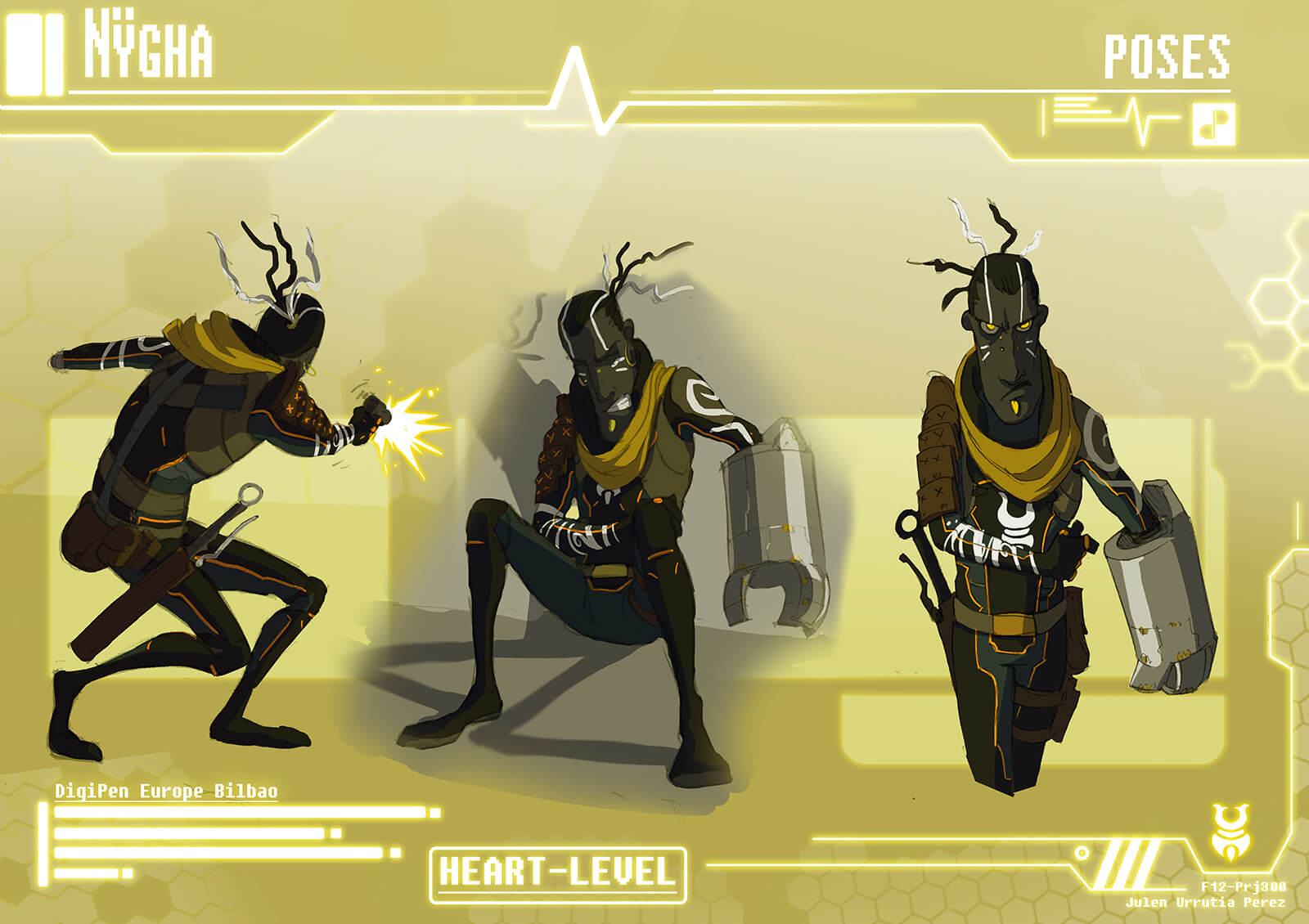 Concept paintings of main character Nygha's various poses