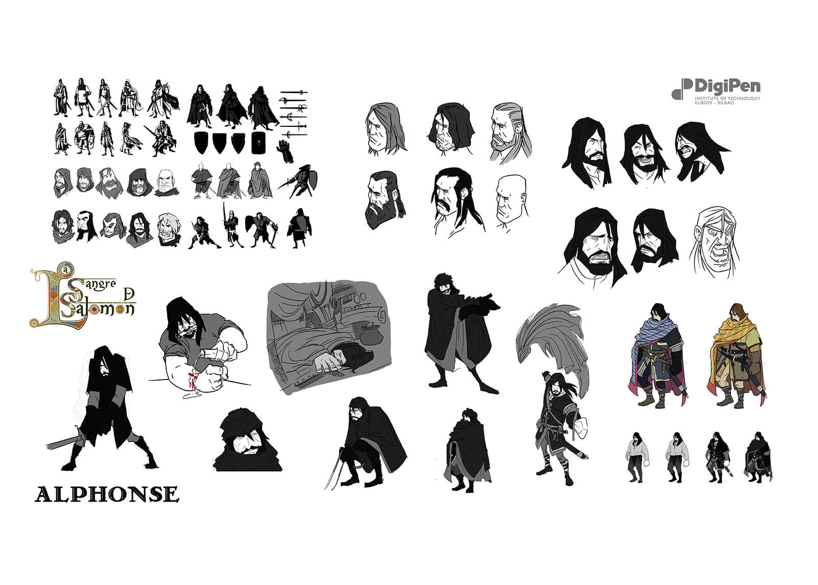 Concept drawings of Alphonse from La Sangre de Salomon
