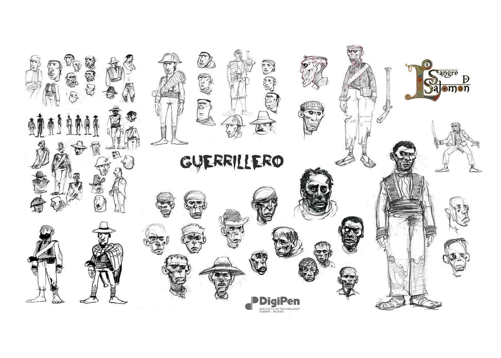 Concept drawings of Guerrillero from La Sangre de Salomon