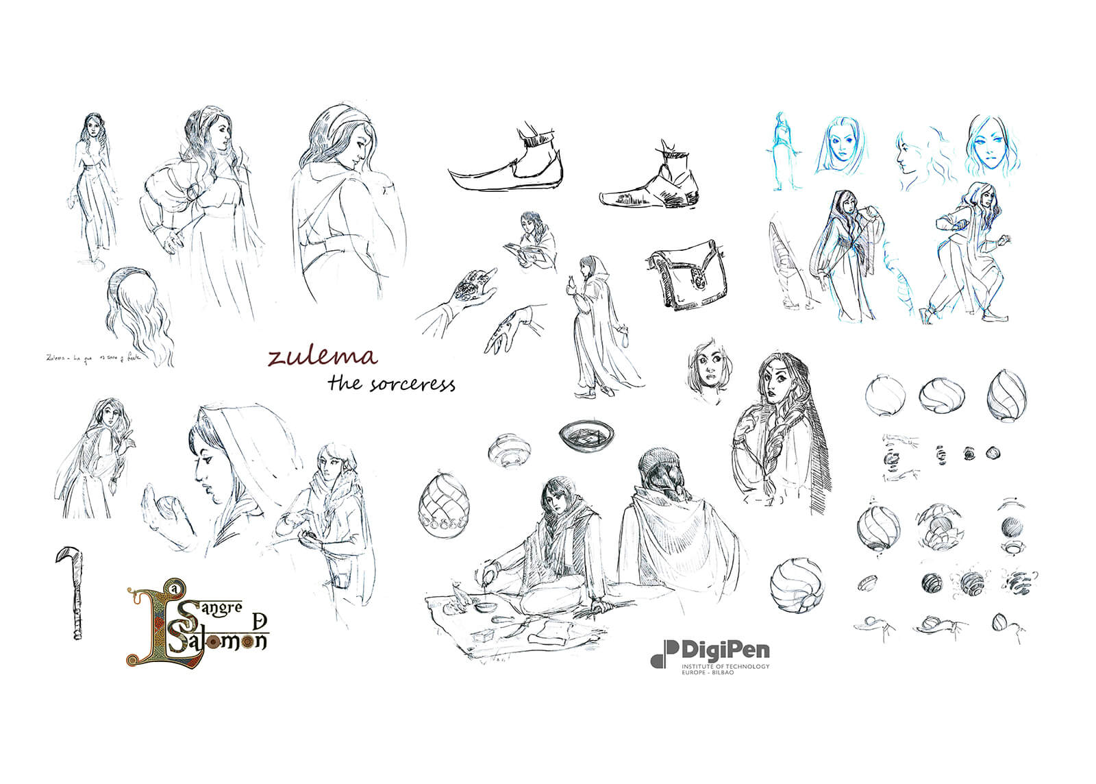Concept drawings of Zulema The Sorceress from La Sangre de Salomon