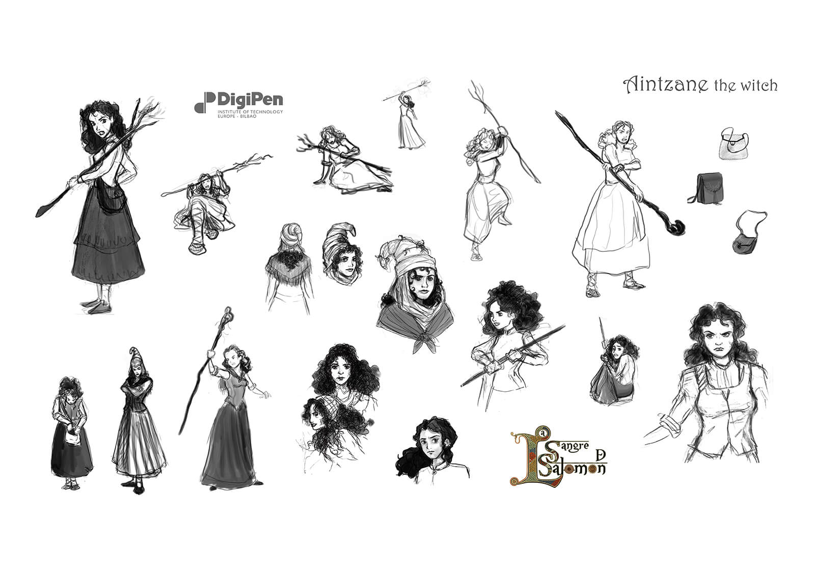 Concept drawings of Aintzane The Witch from La Sangre de Salomon