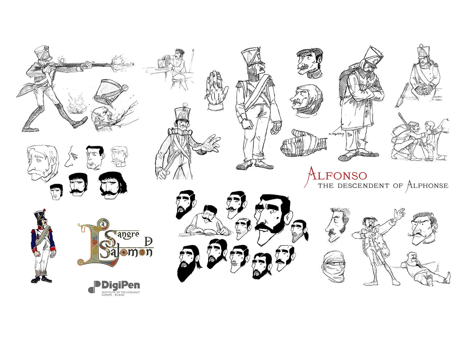 Concept drawings of Alfonso, the descendent of Alphonse, from La Sangre de Salomon
