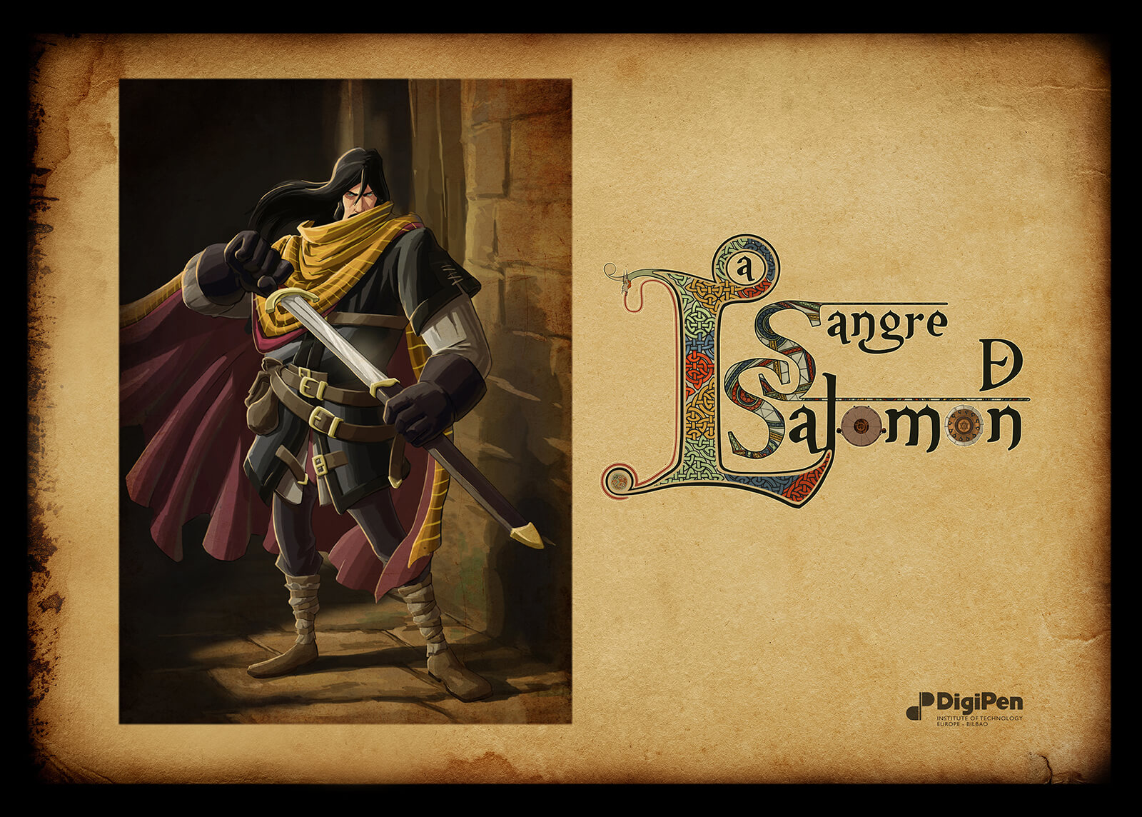 Presentation slide for the Sangre de Salomon, depicting a man with long-black hair, medieval armor, and a red cape and sword