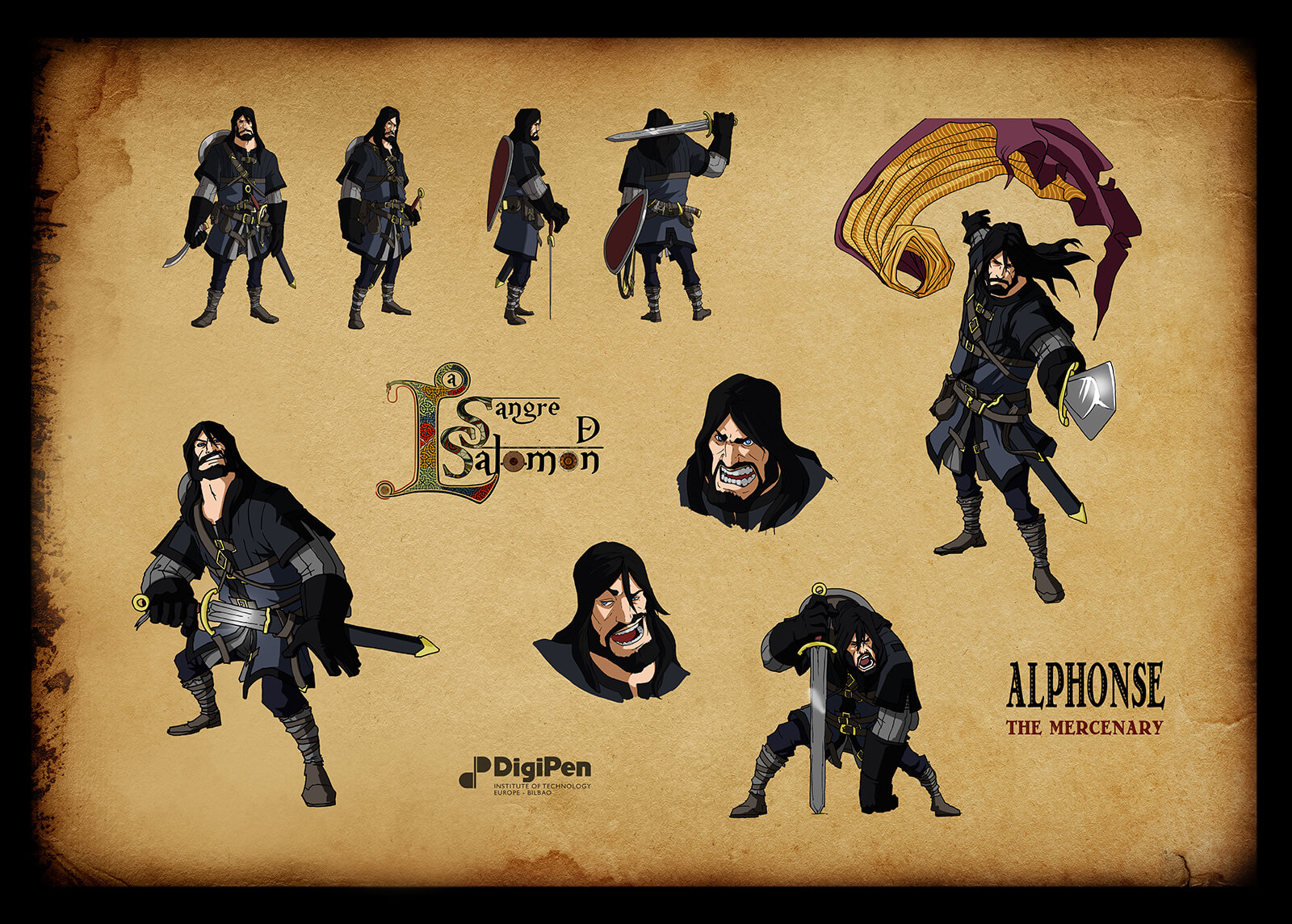 Concept paintings for Alphonse the Mercenary in Sangre de Salomon in various battle poses and expressions