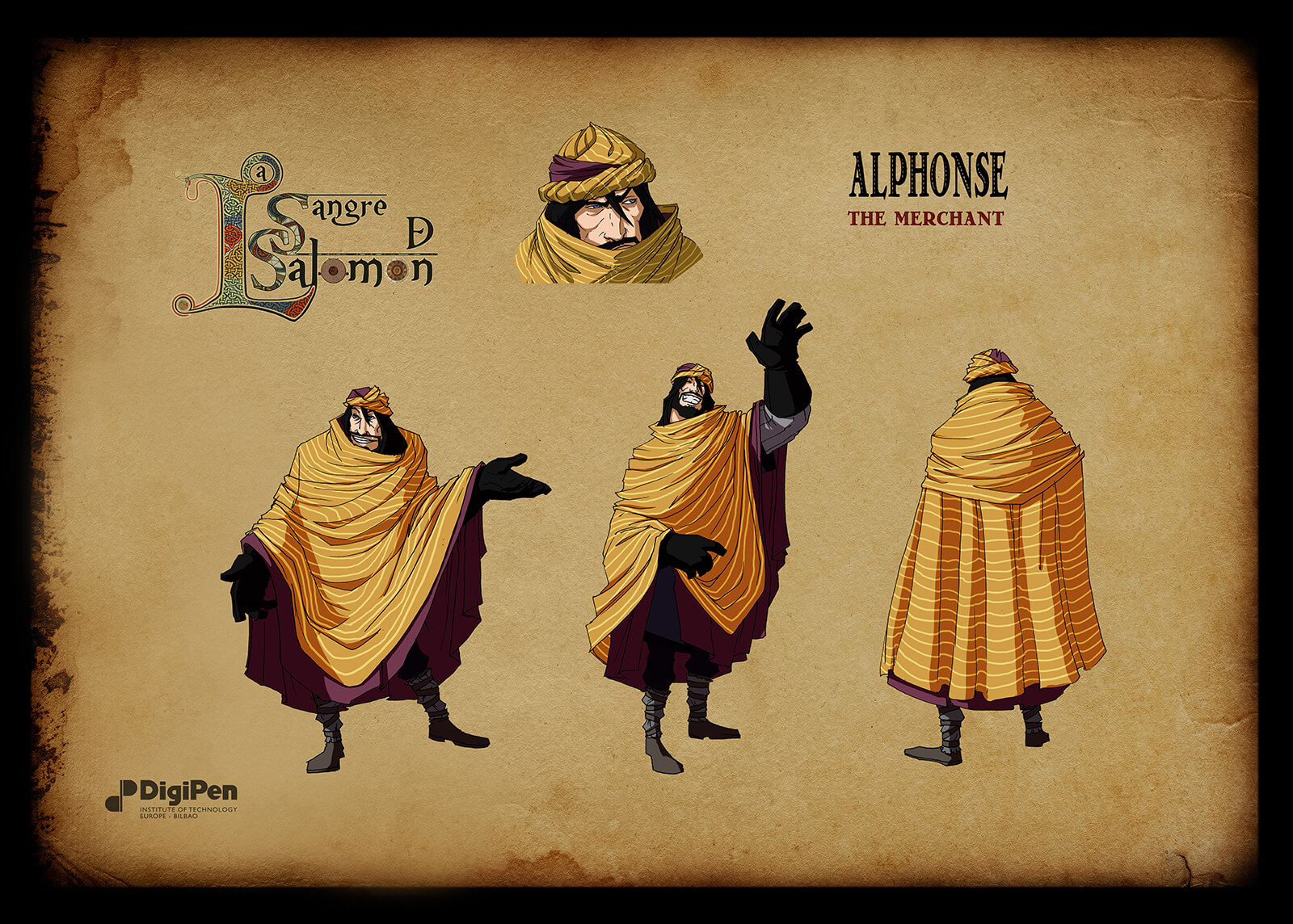 Concept paintings for a black-haired character in Sangre de Salomon disguised as a merchant in a yellow shawl and head scarf