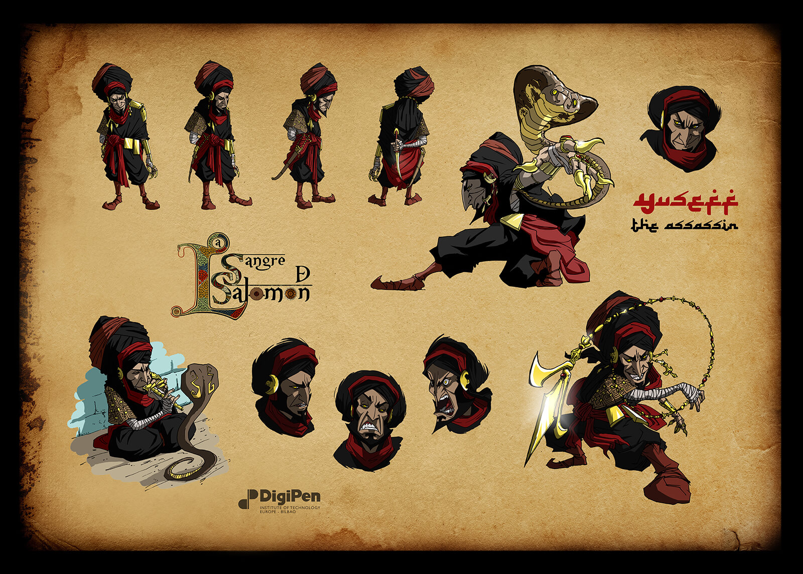 Concept paintings for a short, bearded assassin in black and red robes and turban in various poses with and without a snake