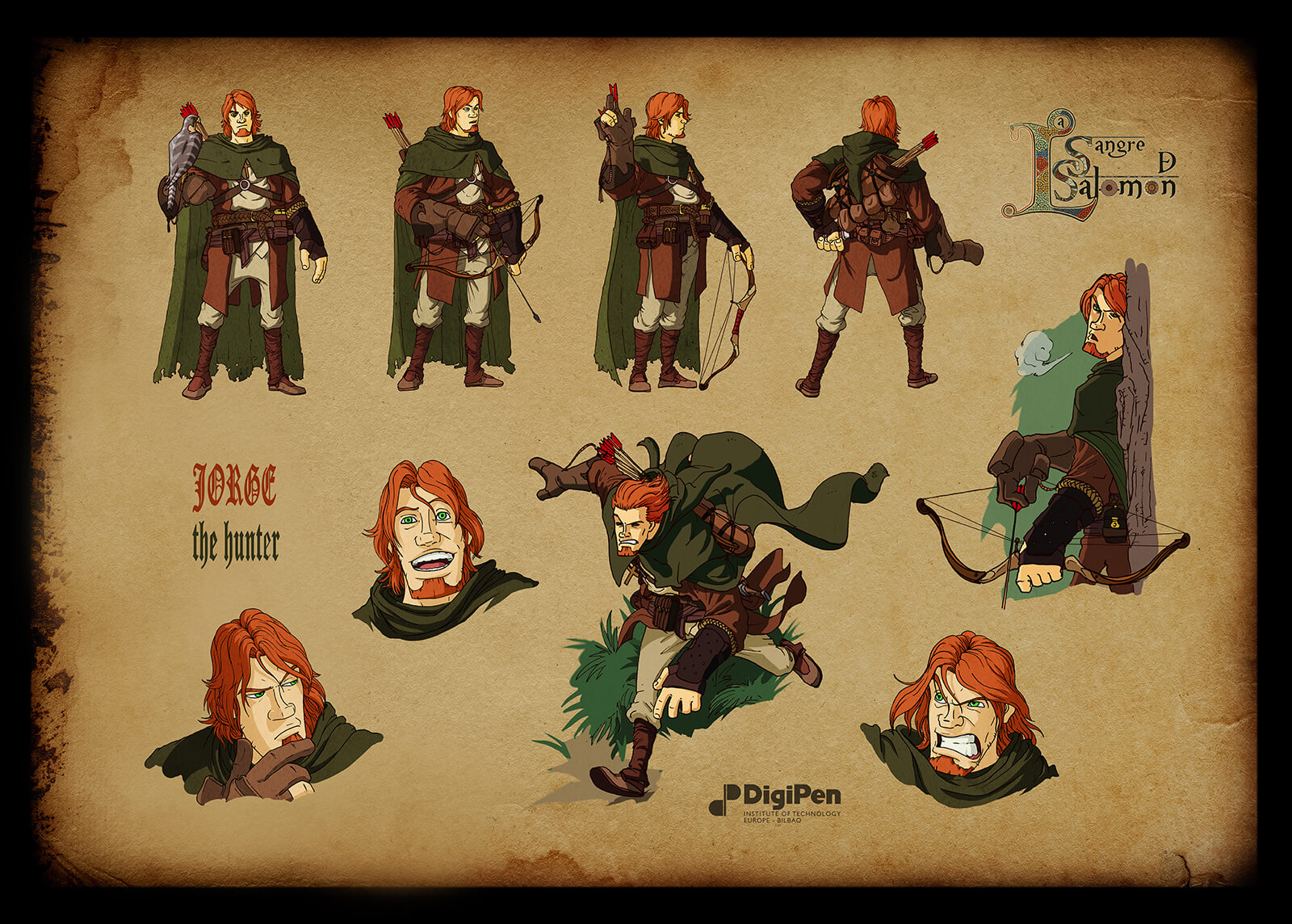 Concept paintings for a red-haired hunter in Sangre de Salomon in various poses in a green coat and bow and arrow